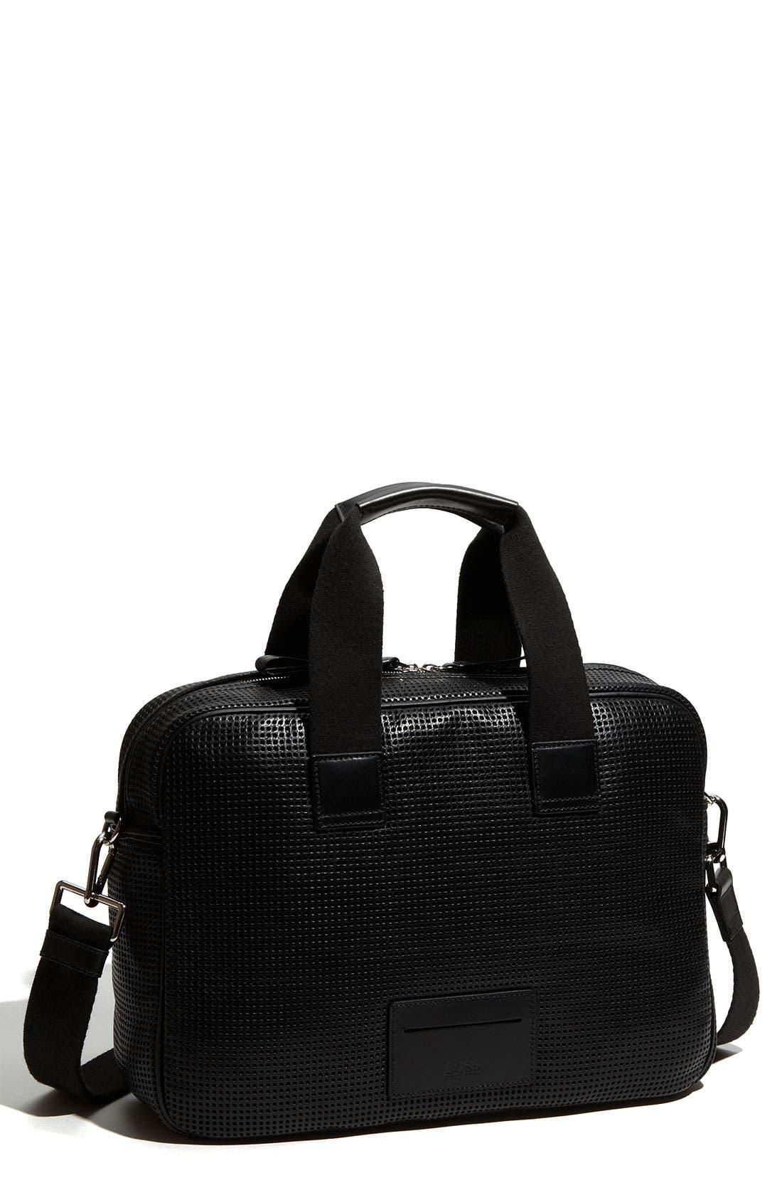 BOSS,                             Hugo Boss 'Polka' Leather Briefcase,                             Main thumbnail 1, color,                             001