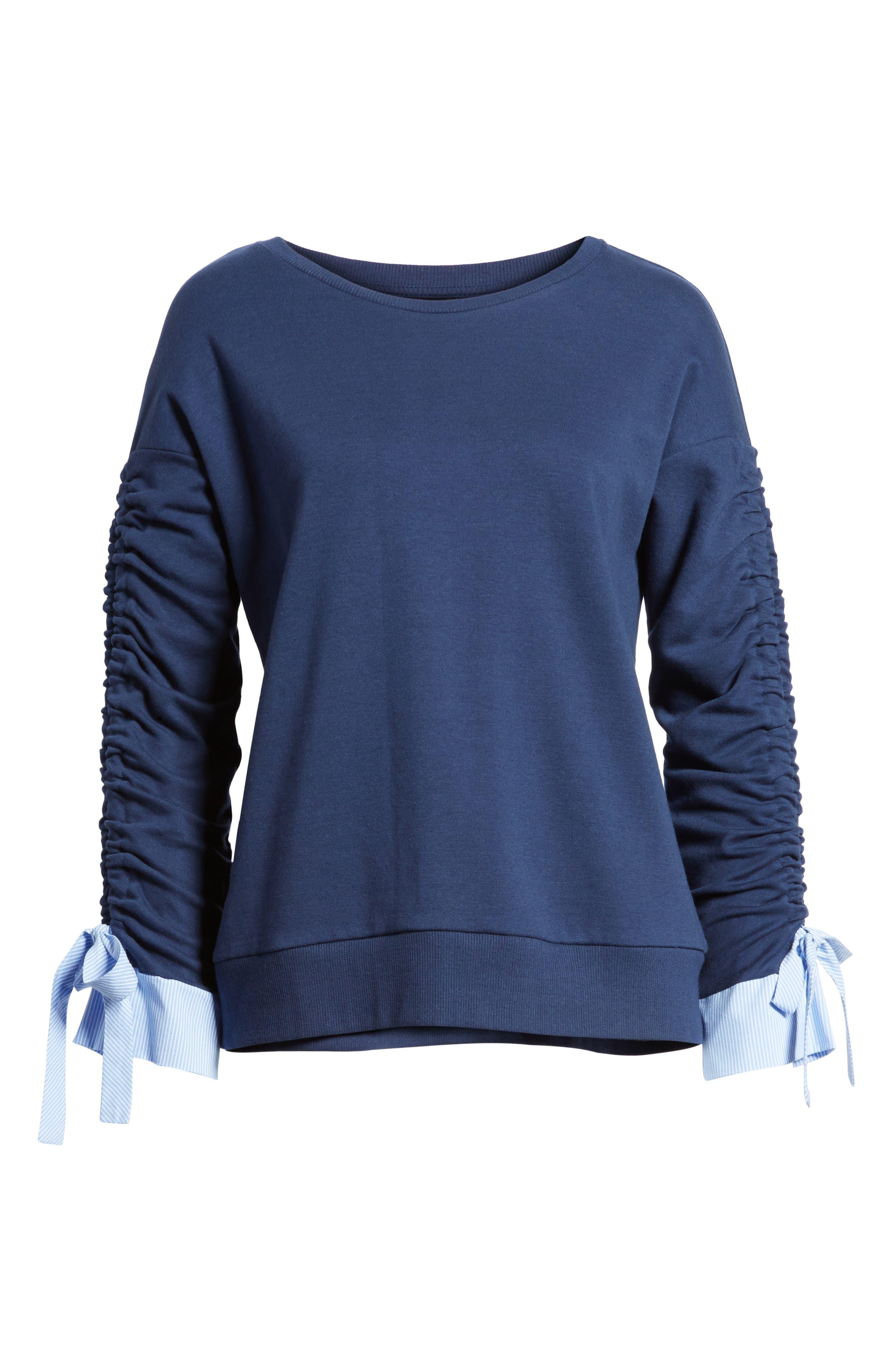 Ruched Sleeve Poplin Trim Sweatshirt,                             Alternate thumbnail 23, color,