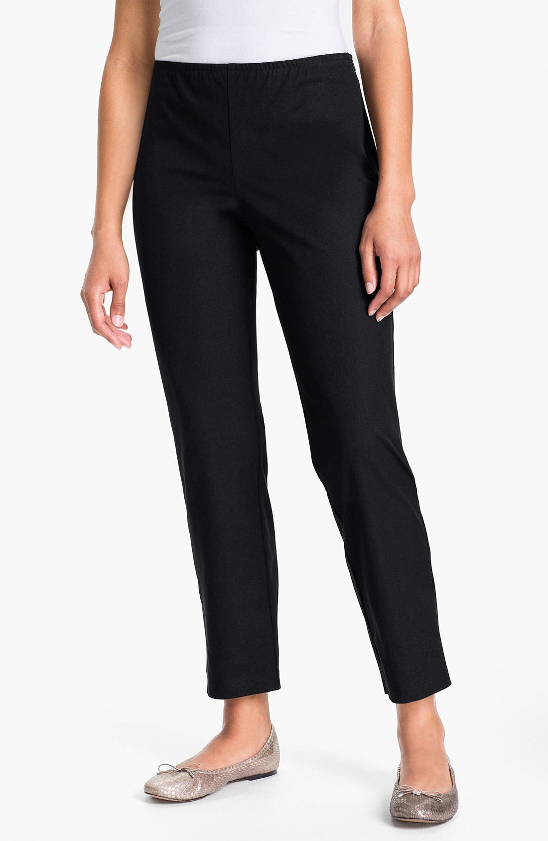 Organic Stretch Cotton Twill Ankle Pants,                             Main thumbnail 1, color,
