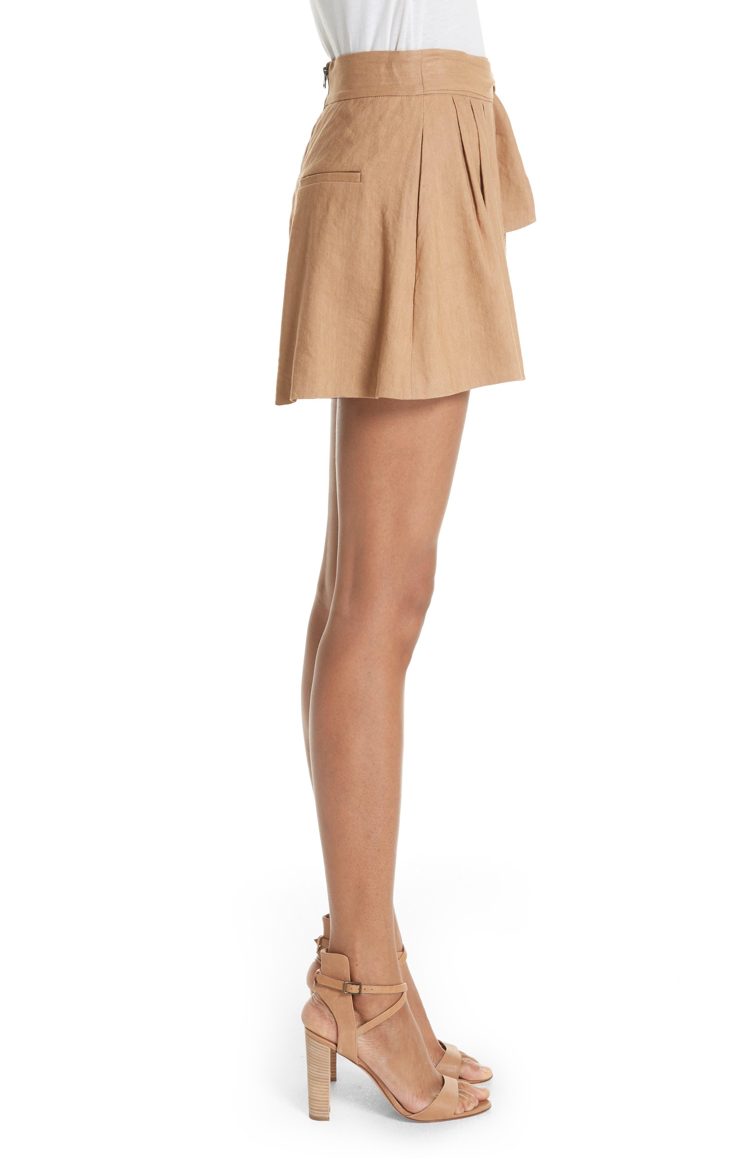 Dawson Flutter Tie Waist Linen Blend Shorts,                             Alternate thumbnail 3, color,                             276