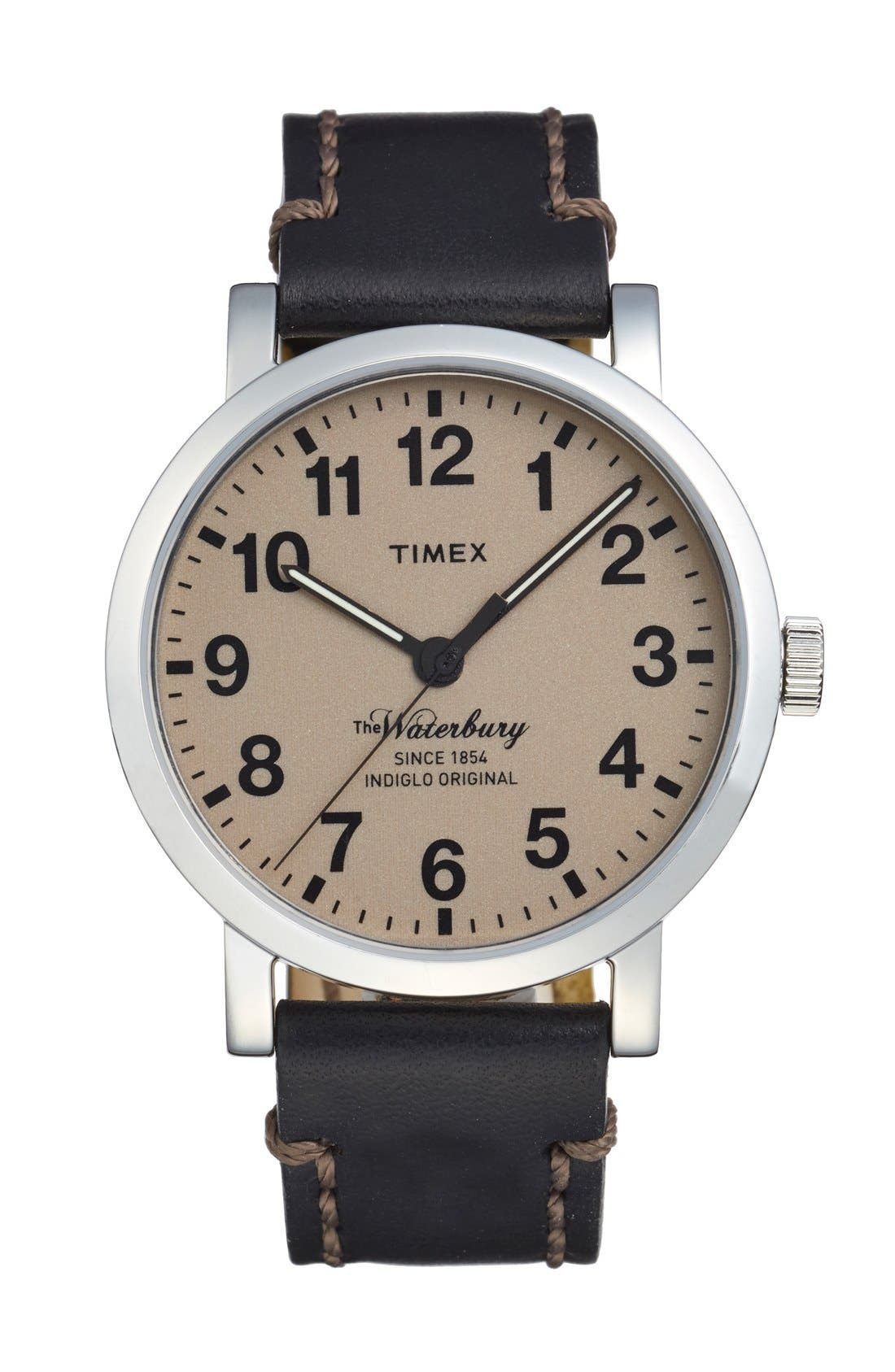 Waterbury Leather Strap Watch, 40mm,                             Main thumbnail 1, color,                             001