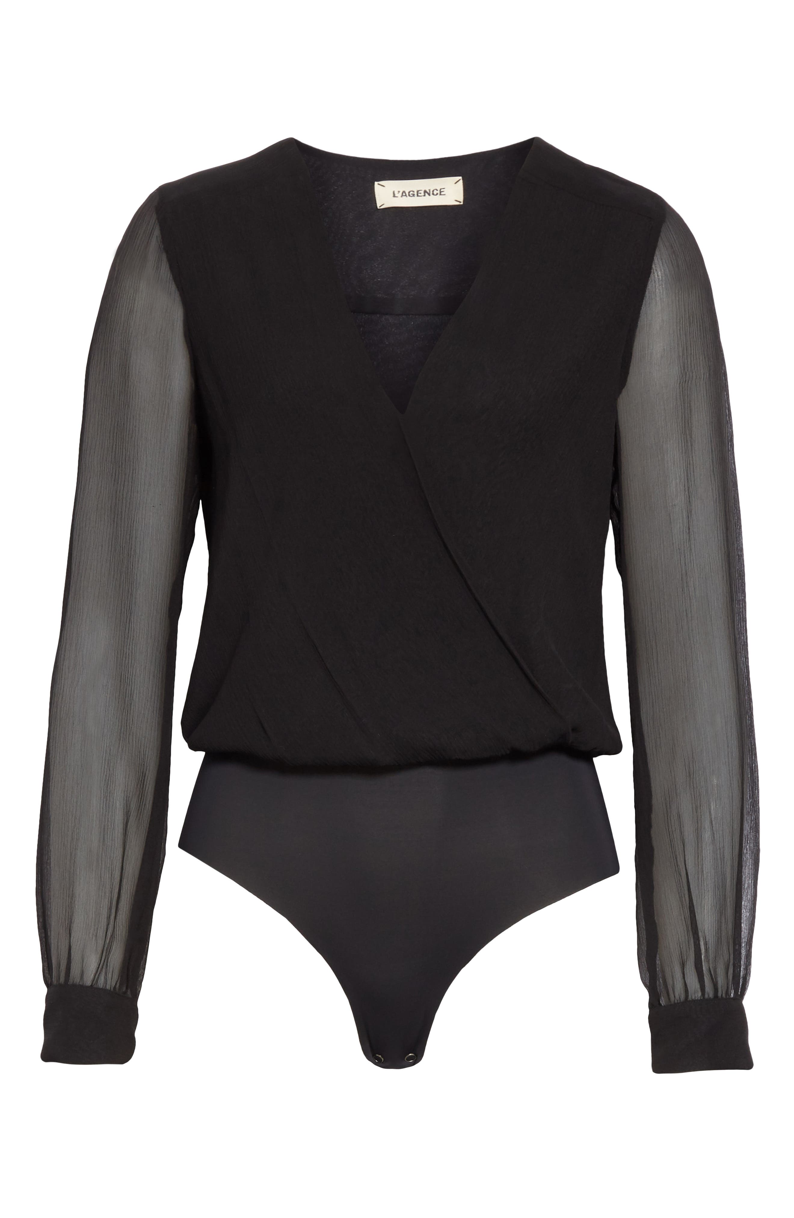 Tasha Silk Bodysuit,                             Alternate thumbnail 6, color,                             BLACK