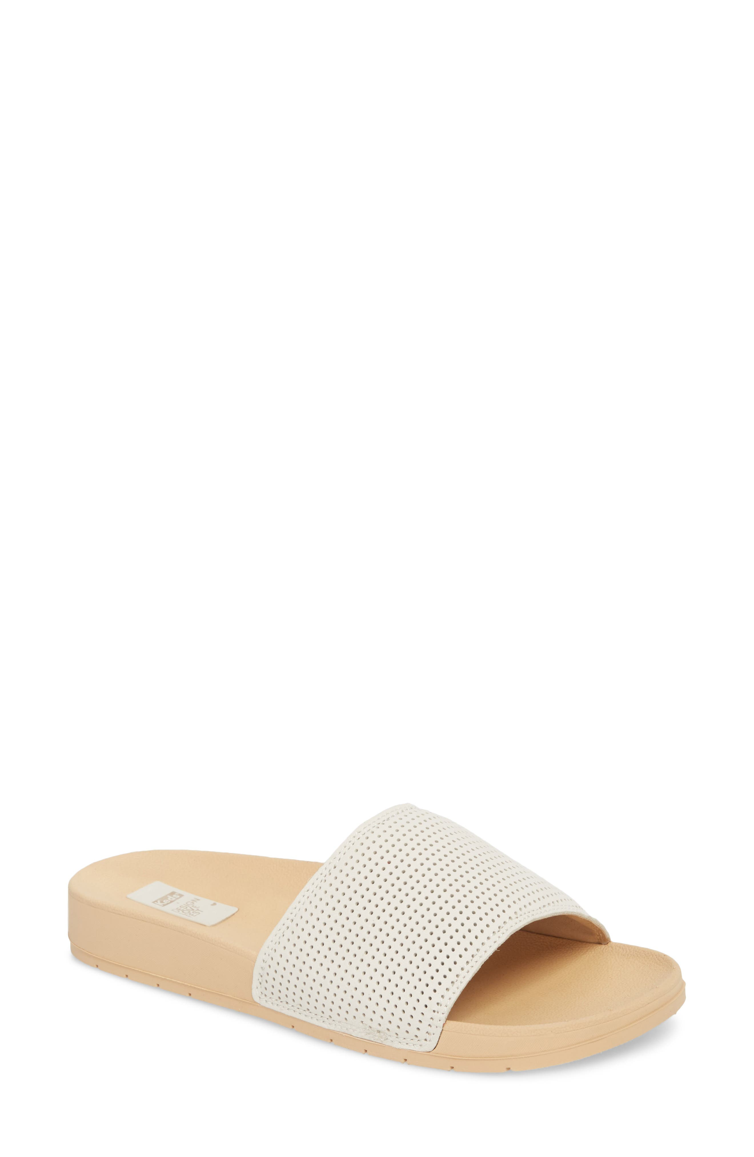 x Designlovefest Bliss Slide Sandal,                         Main,                         color, CREAM/ TAN