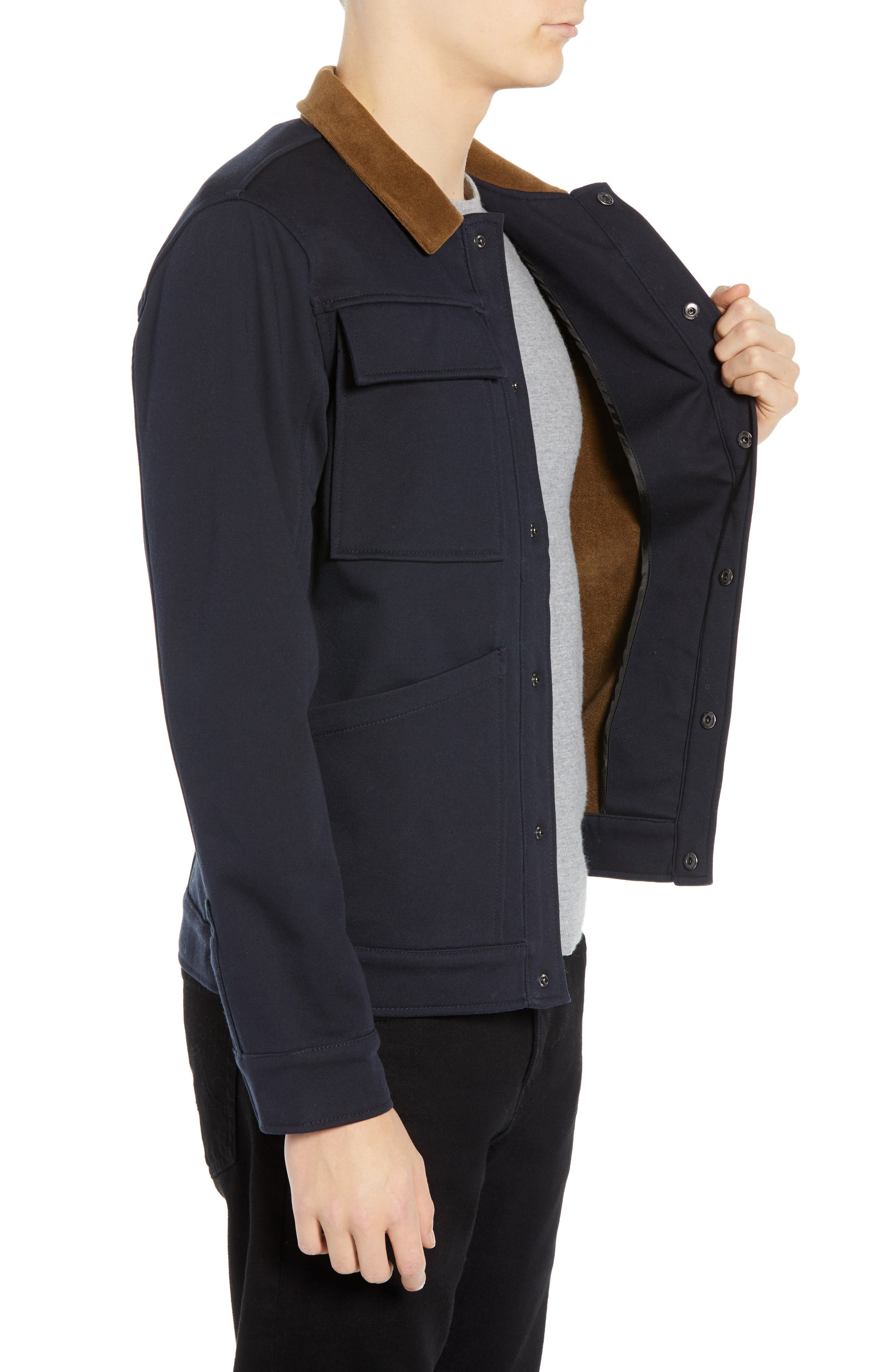 Velour Collar Trucker Jacket,                             Alternate thumbnail 3, color,                             NAVY