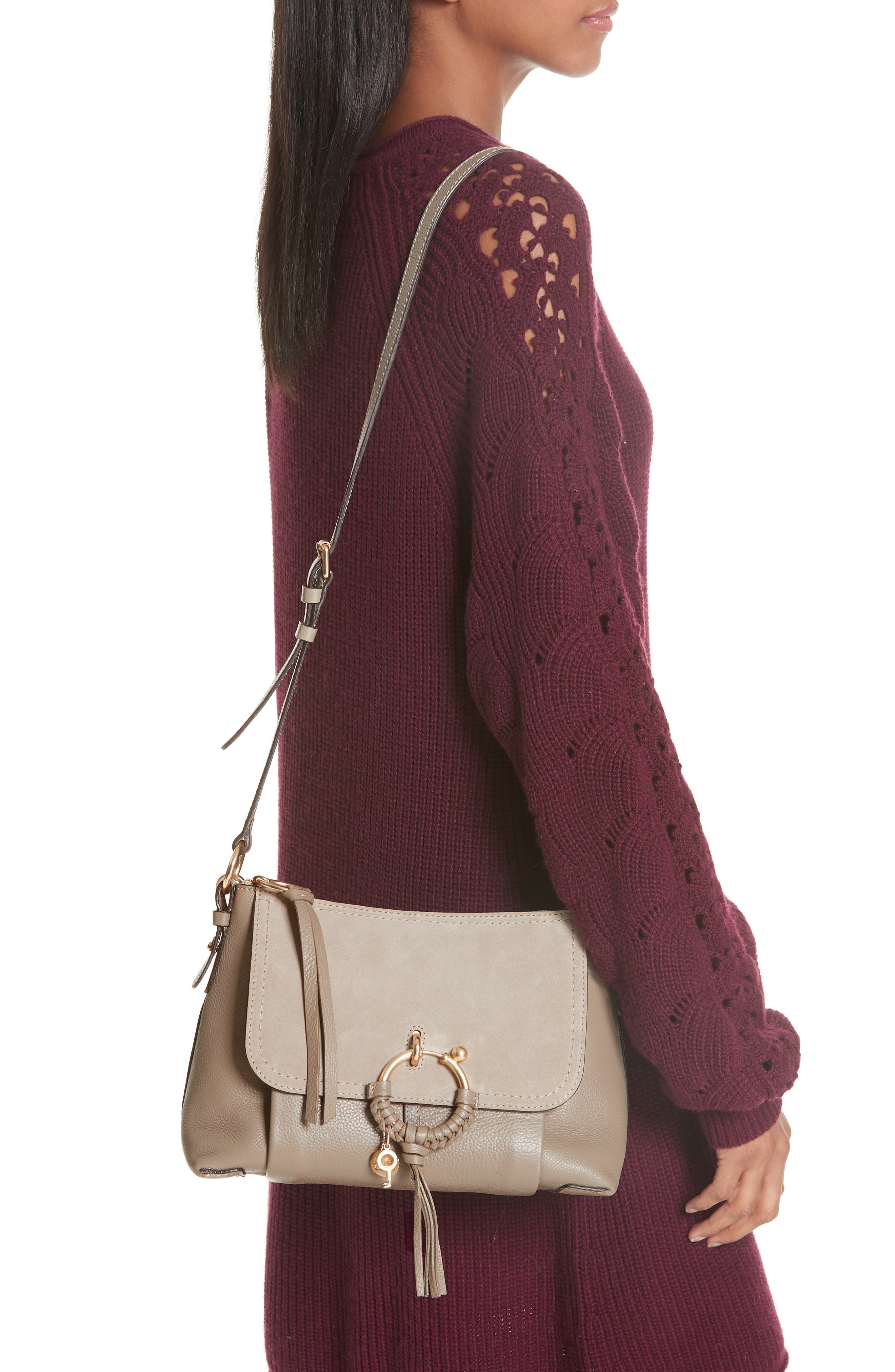 Small Joan Suede & Leather Crossbody Bag,                             Alternate thumbnail 2, color,                             MOTTY GREY