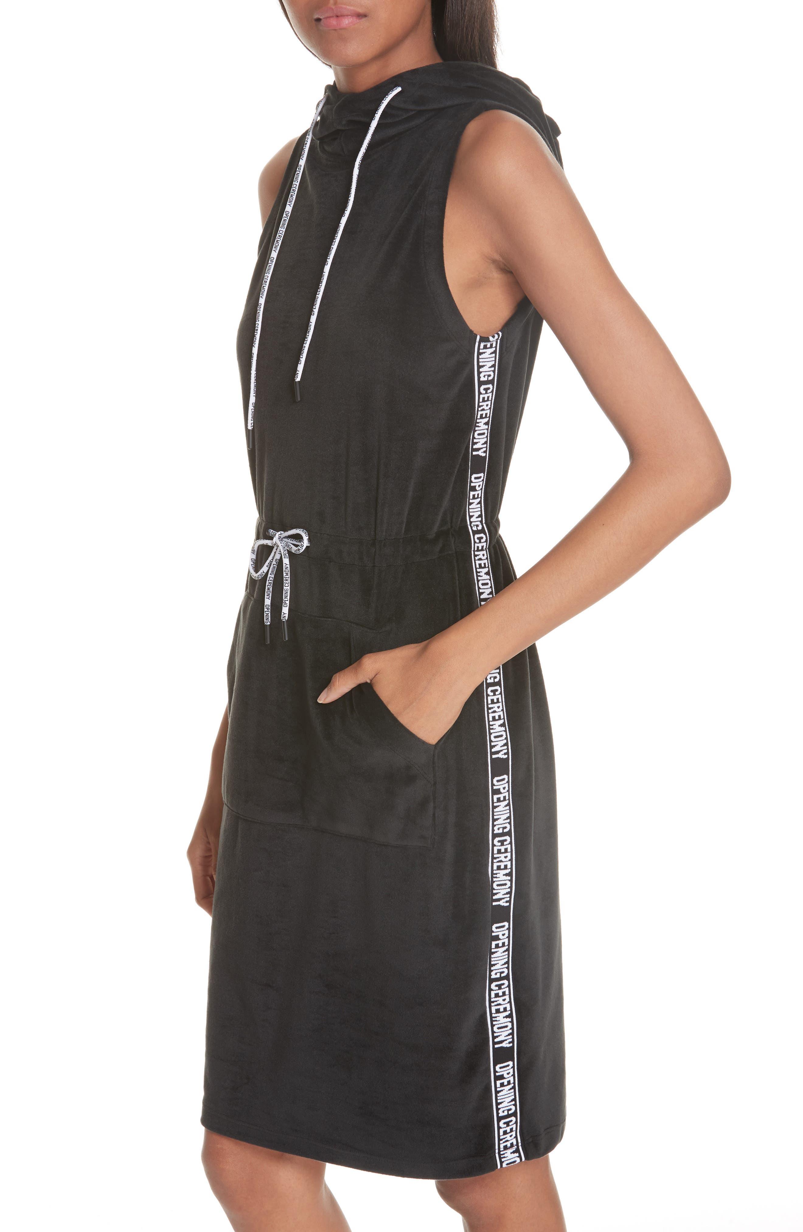 Velour Hoodie Dress,                             Alternate thumbnail 4, color,                             BLACK