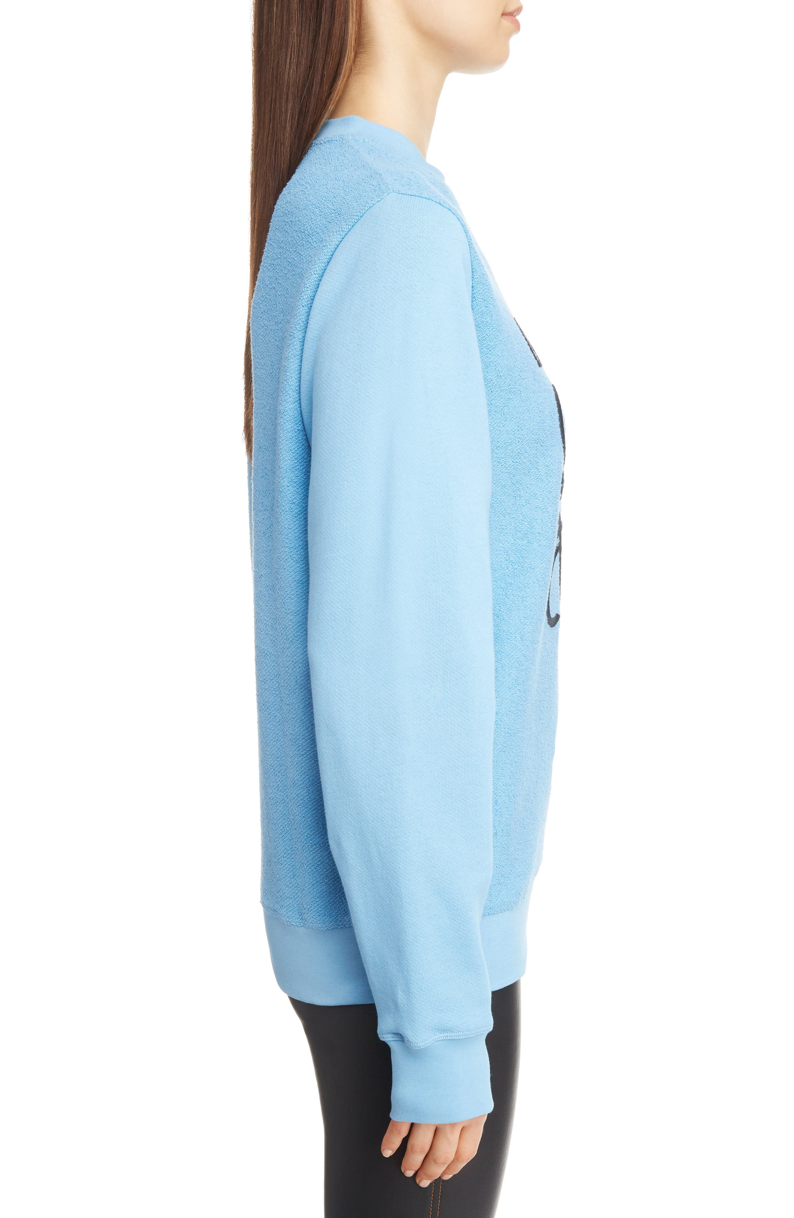 Terry Bodice Logo Sweatshirt,                             Alternate thumbnail 3, color,                             LIGHT BLUE