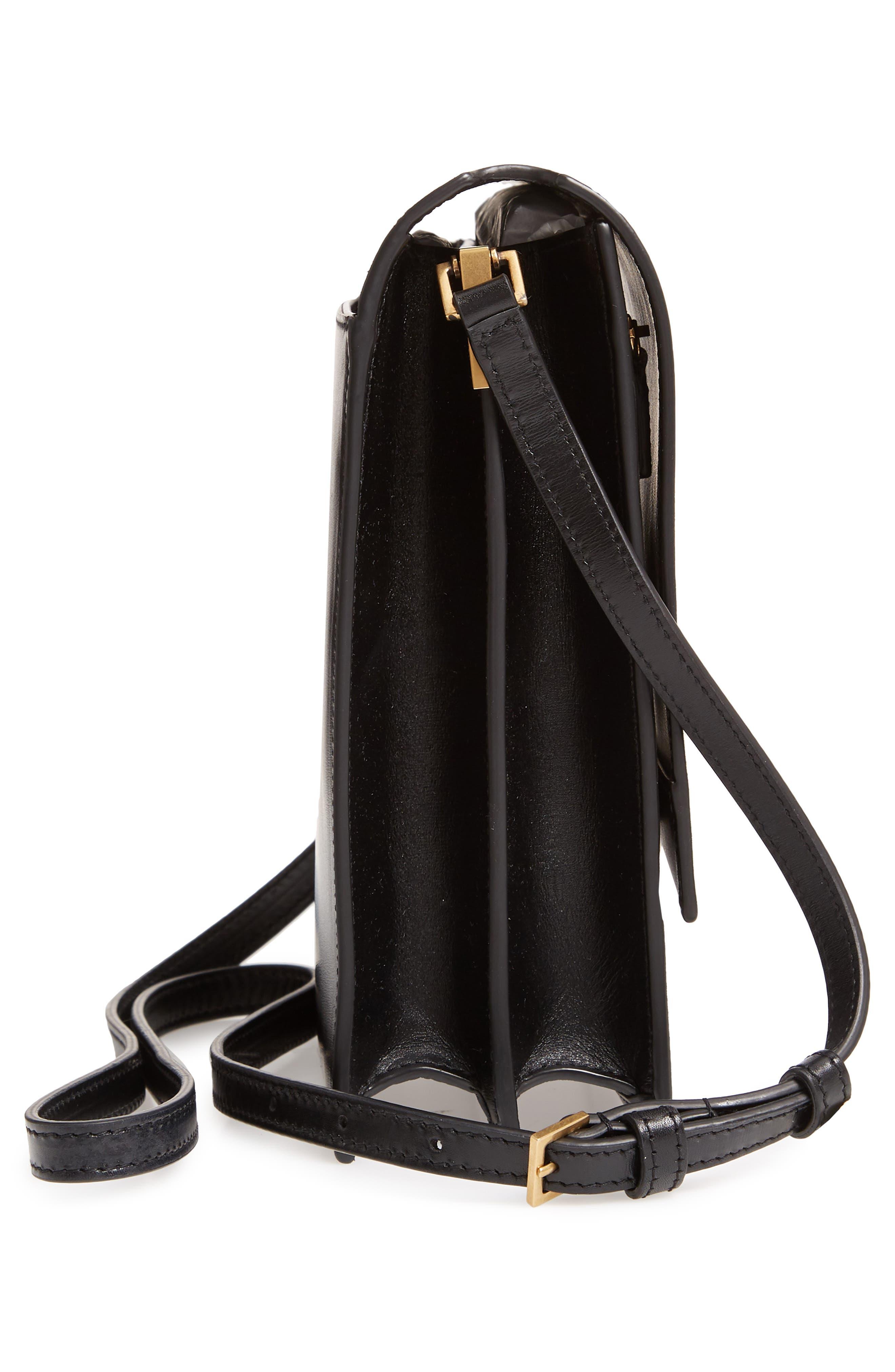 Sao Leather Shoulder Bag,                             Alternate thumbnail 5, color,                             NOIR