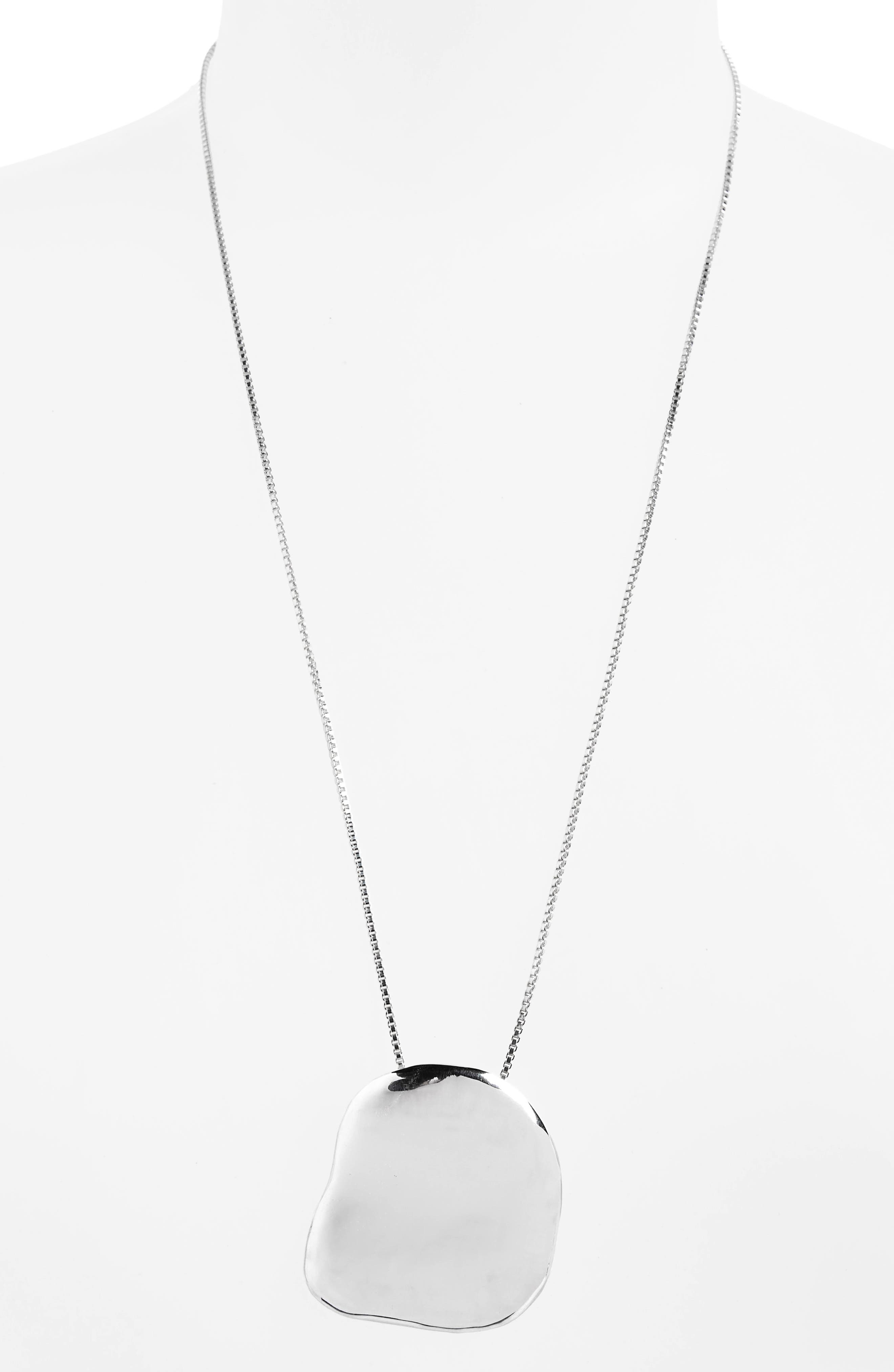 Big Dip Pendant Necklace,                         Main,                         color, STERLING SILVER