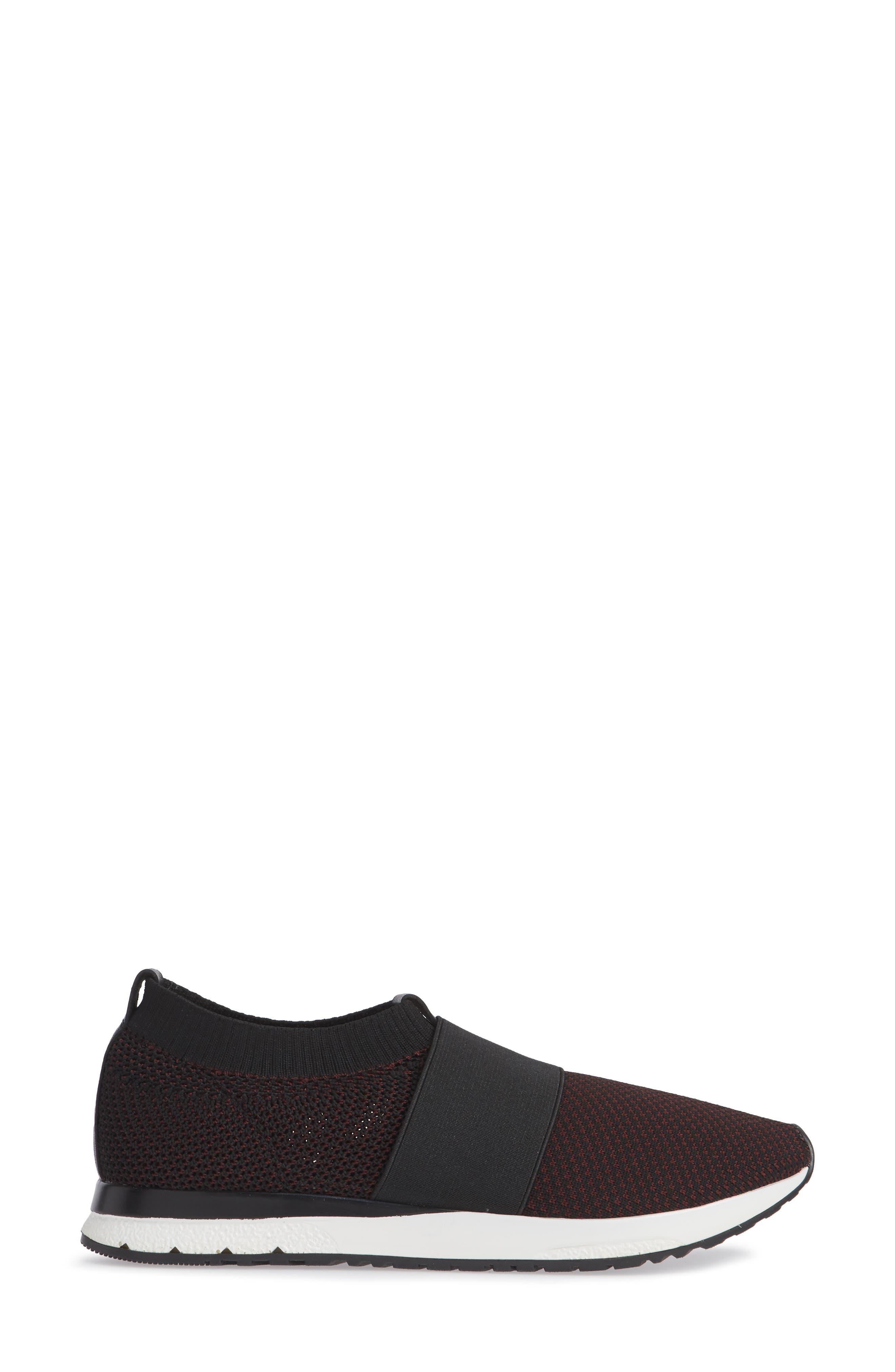 Brooke Slip-On Sneaker,                             Alternate thumbnail 3, color,                             BLACK/ WINE KNIT FABRIC