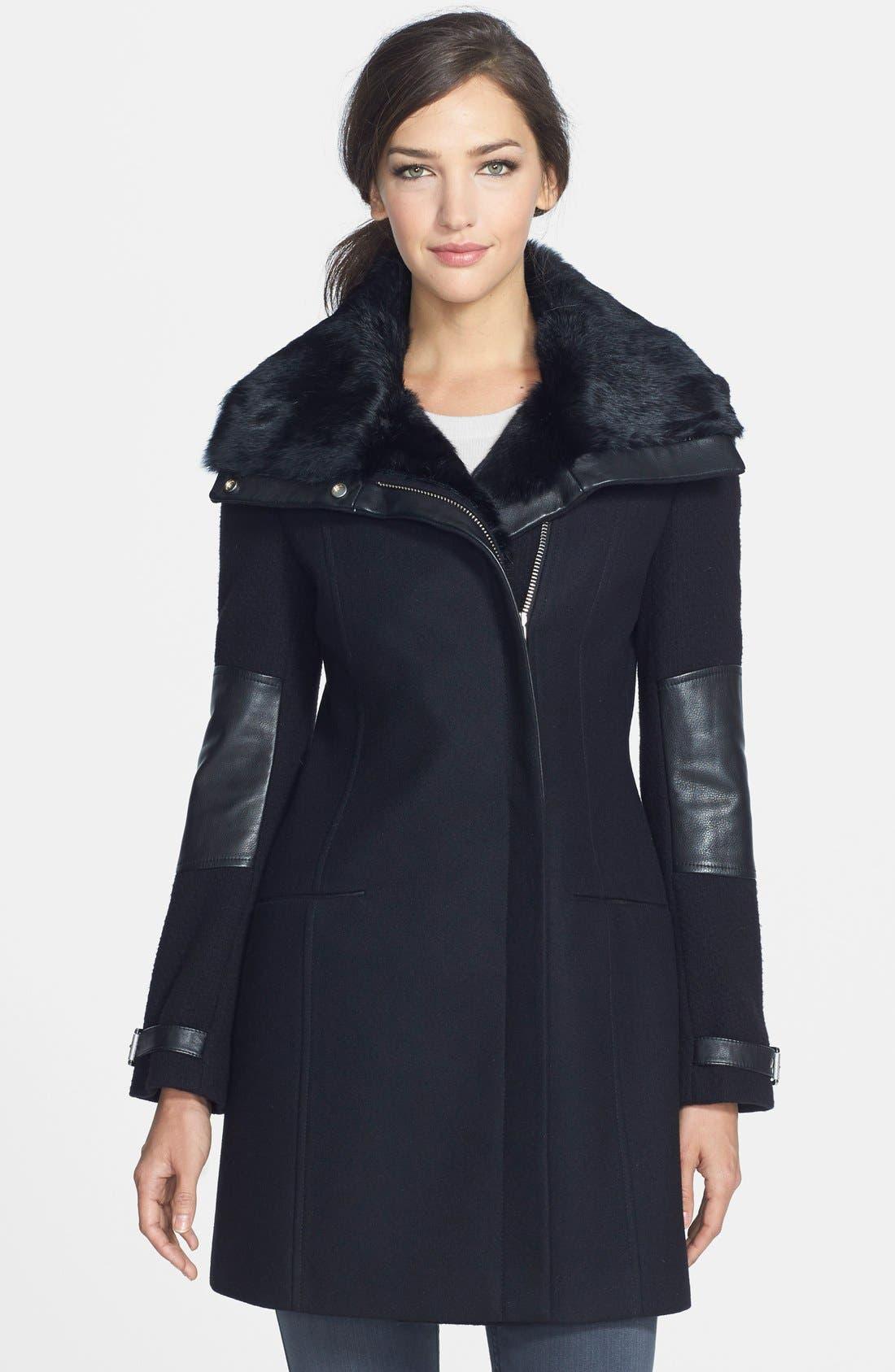 ANDREW MARC 'Mara' Genuine Rabbit Fur & Leather Trim Wool Blend Coat, Main, color, 001