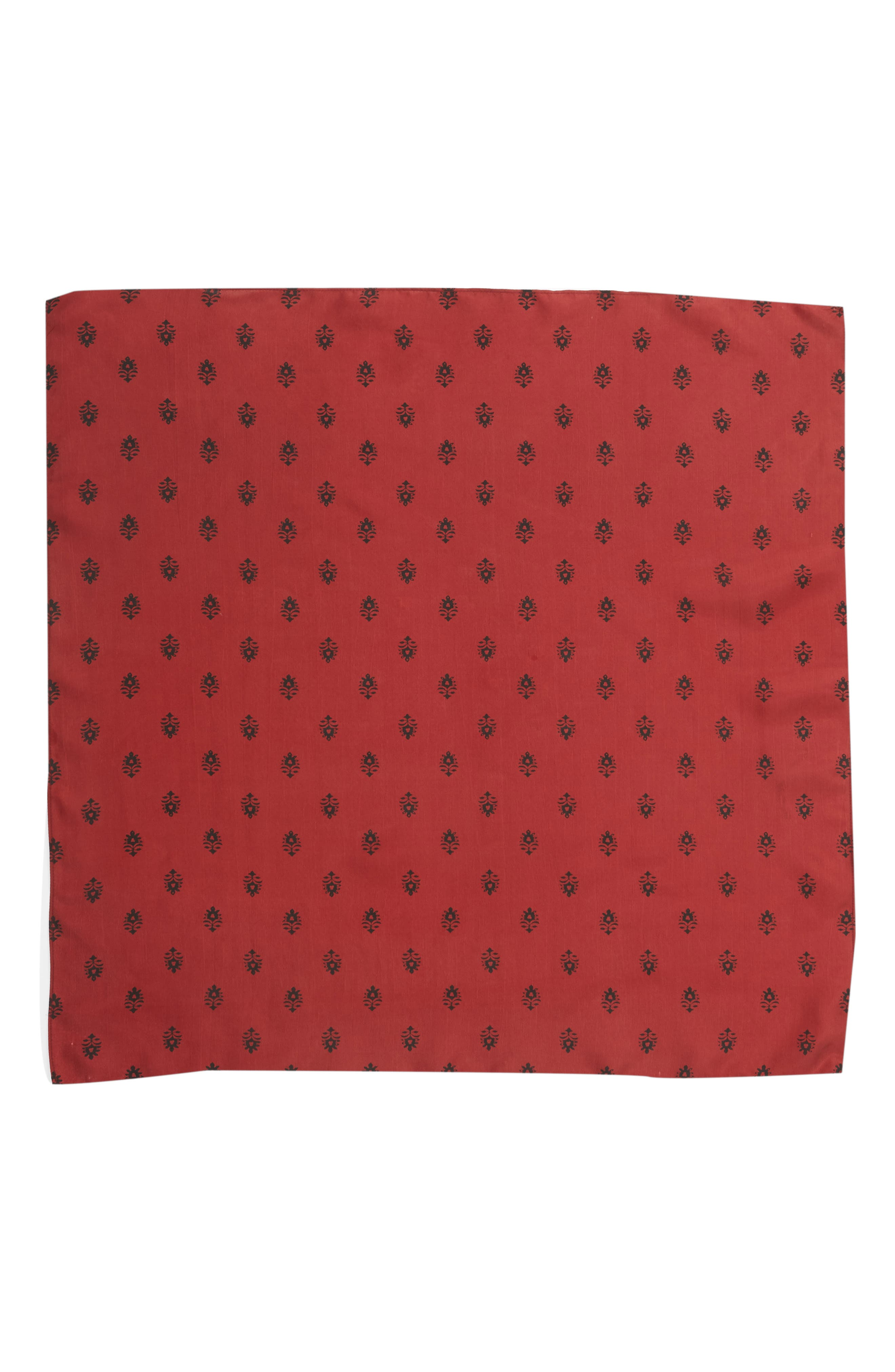 Printed Silk Square Scarf,                             Alternate thumbnail 3, color,                             RED BALI DOTS