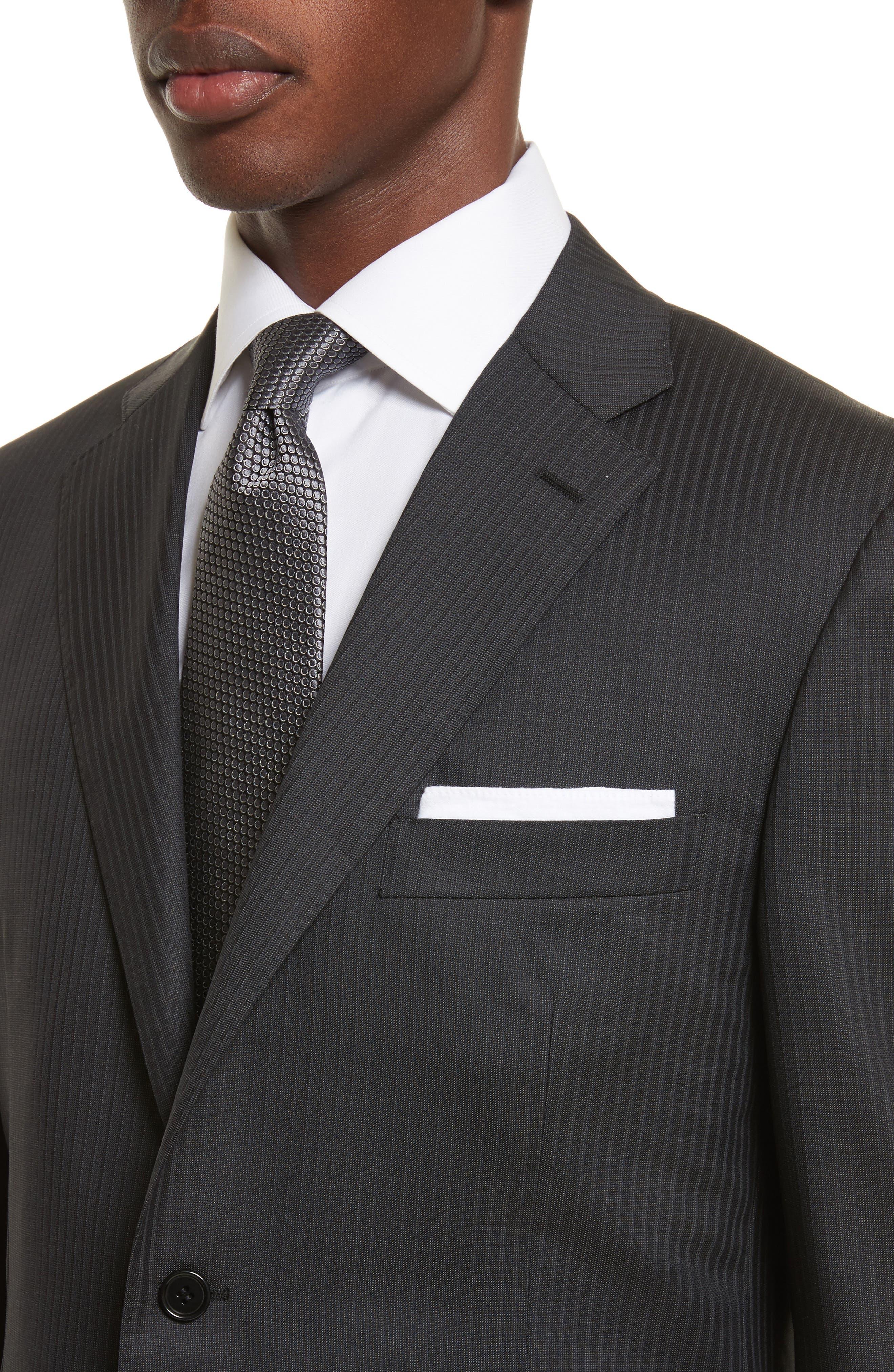 Classic Fit Stripe Wool Suit,                             Alternate thumbnail 4, color,                             020