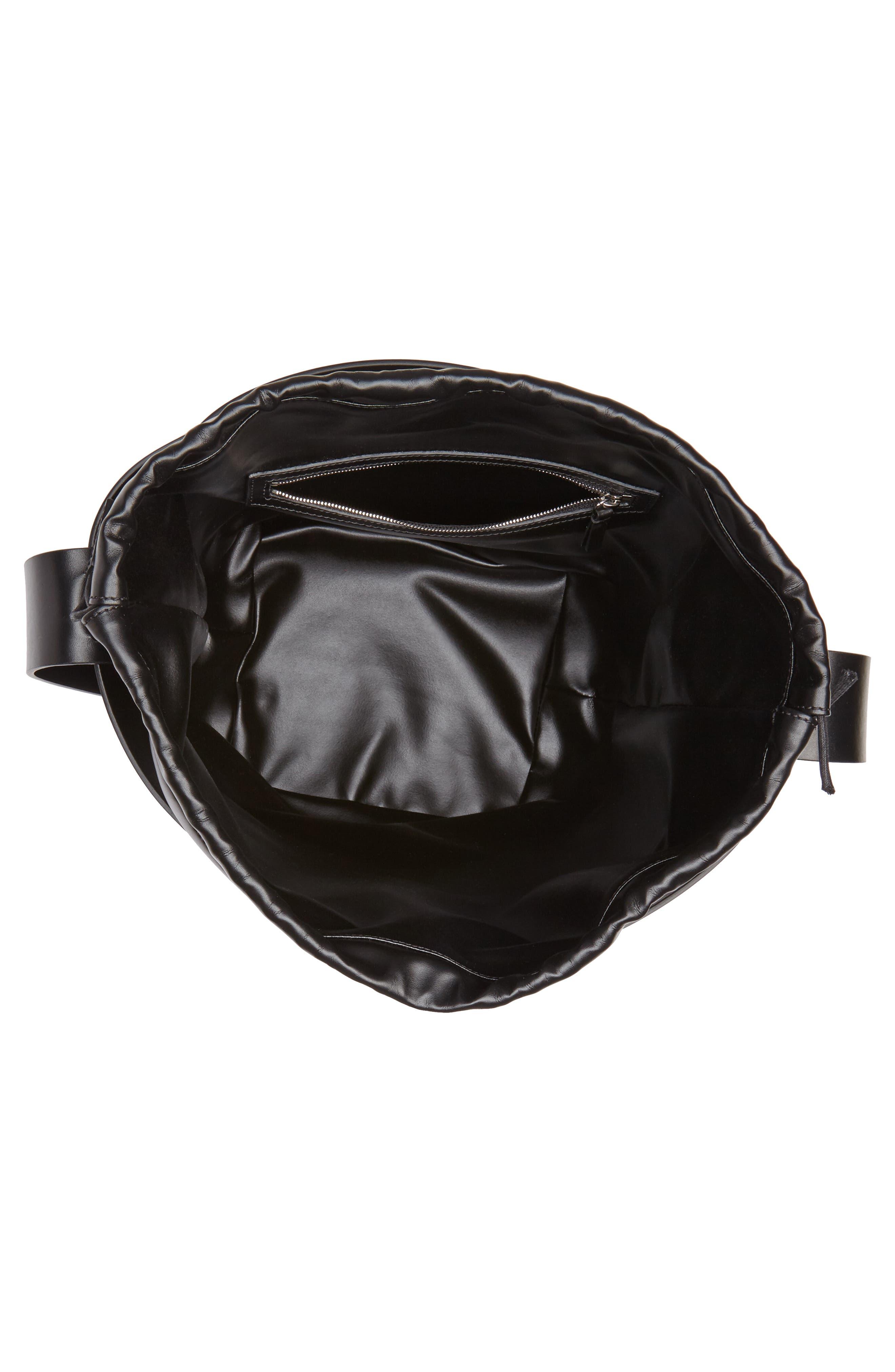 Medium Cage Leather Bucket Bag,                             Alternate thumbnail 4, color,                             001
