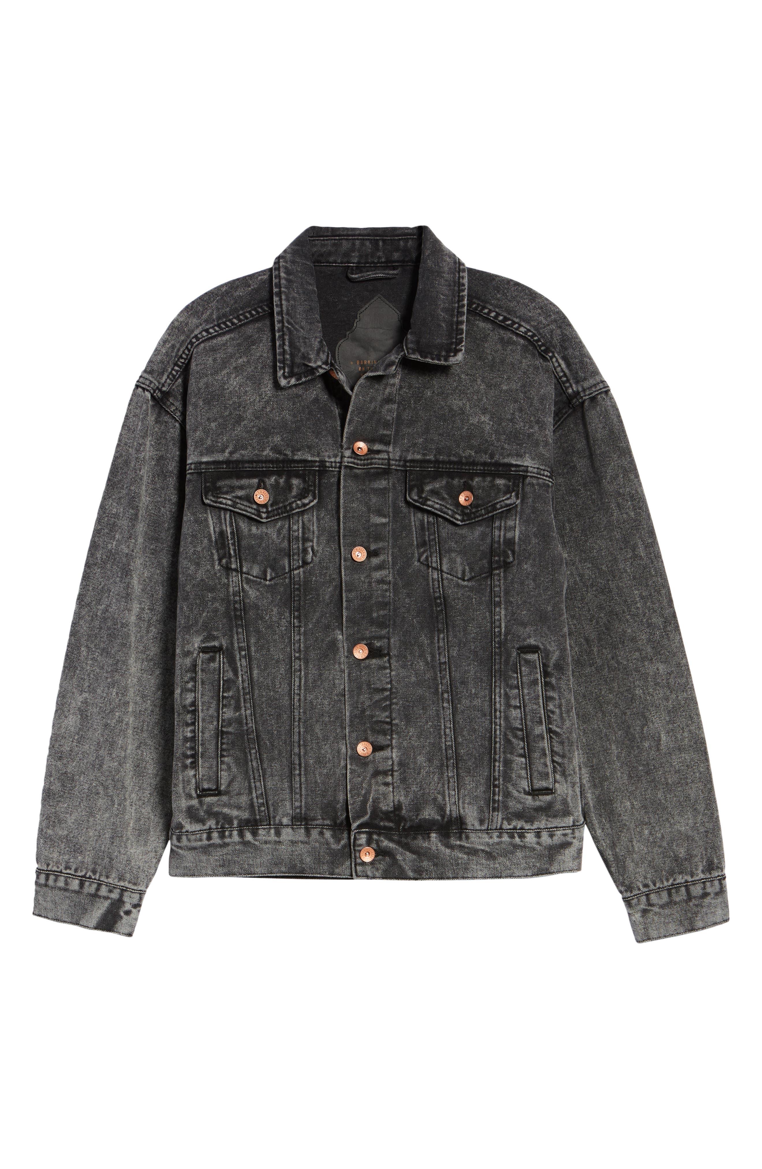 Classic Fit Denim Jacket,                             Alternate thumbnail 6, color,                             BLACK ACID WASH