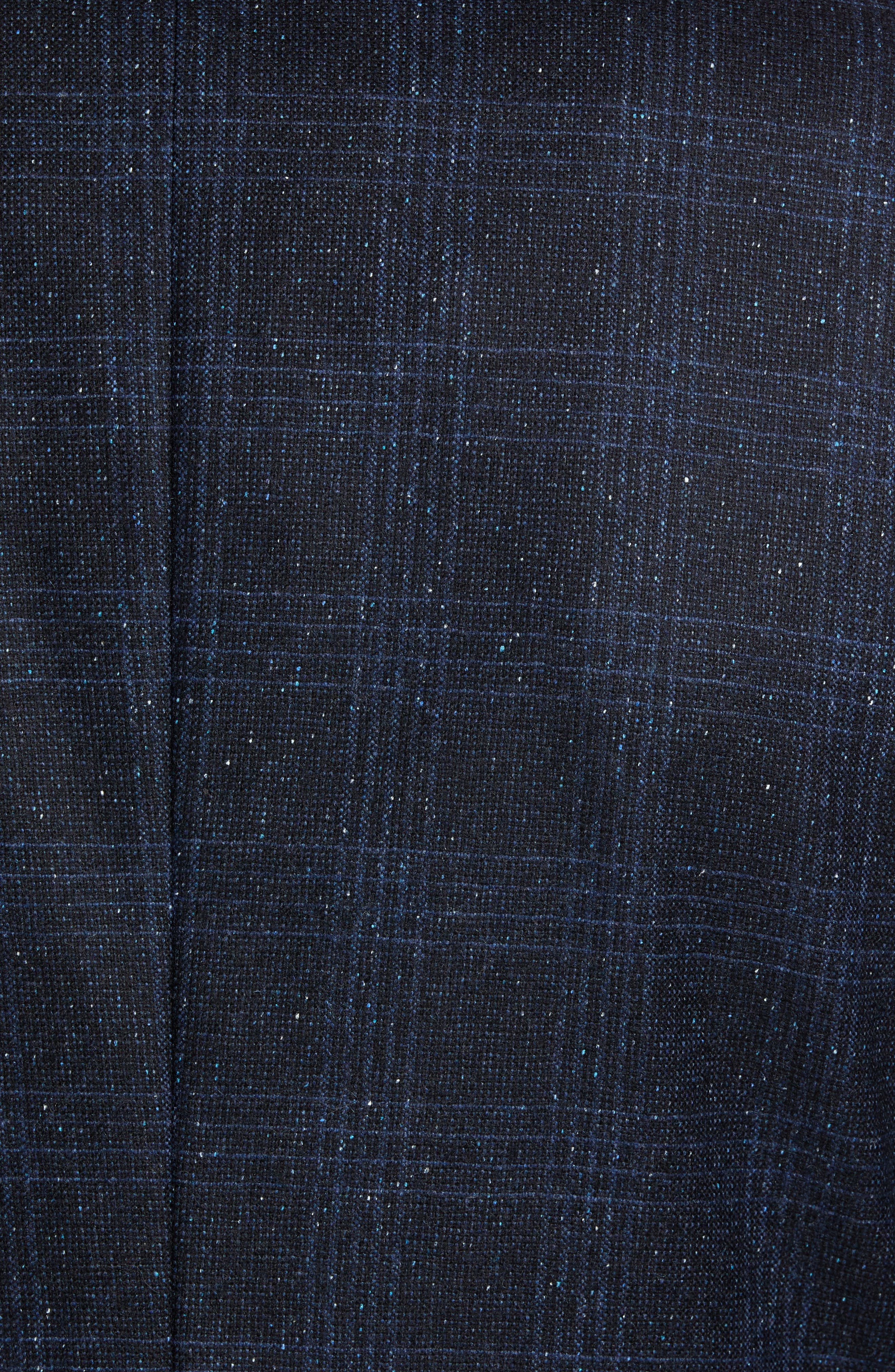 Extra Trim Fit Donegal Plaid Soft Coat,                             Alternate thumbnail 6, color,                             NAVY
