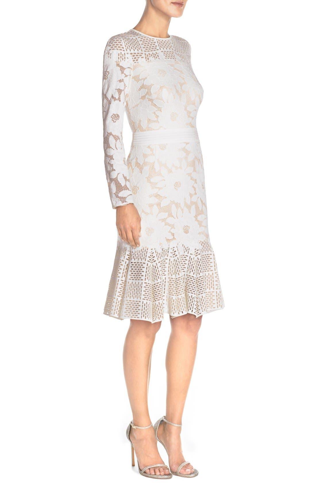 Lace & Cutout Neoprene Sheath Dress,                             Alternate thumbnail 2, color,                             904
