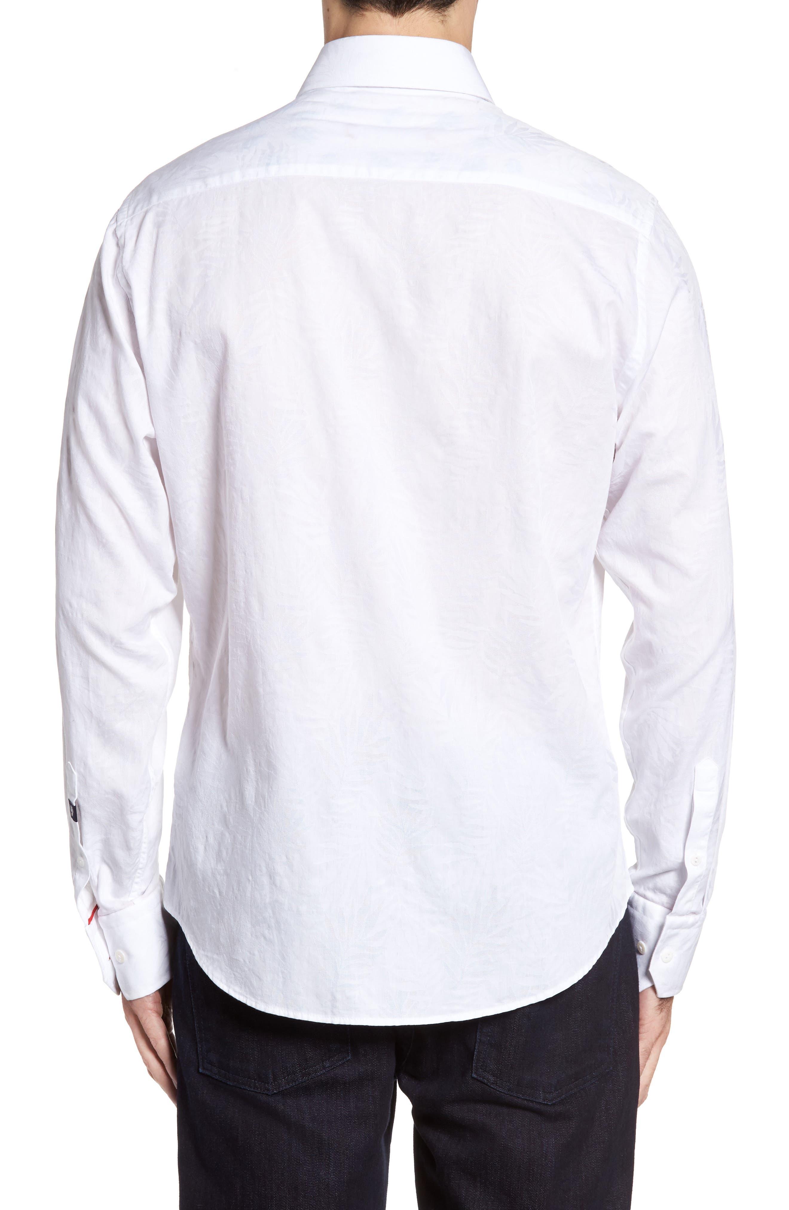 Slim Fit Tonal Leaf Jacquard Sport Shirt,                             Alternate thumbnail 2, color,                             100