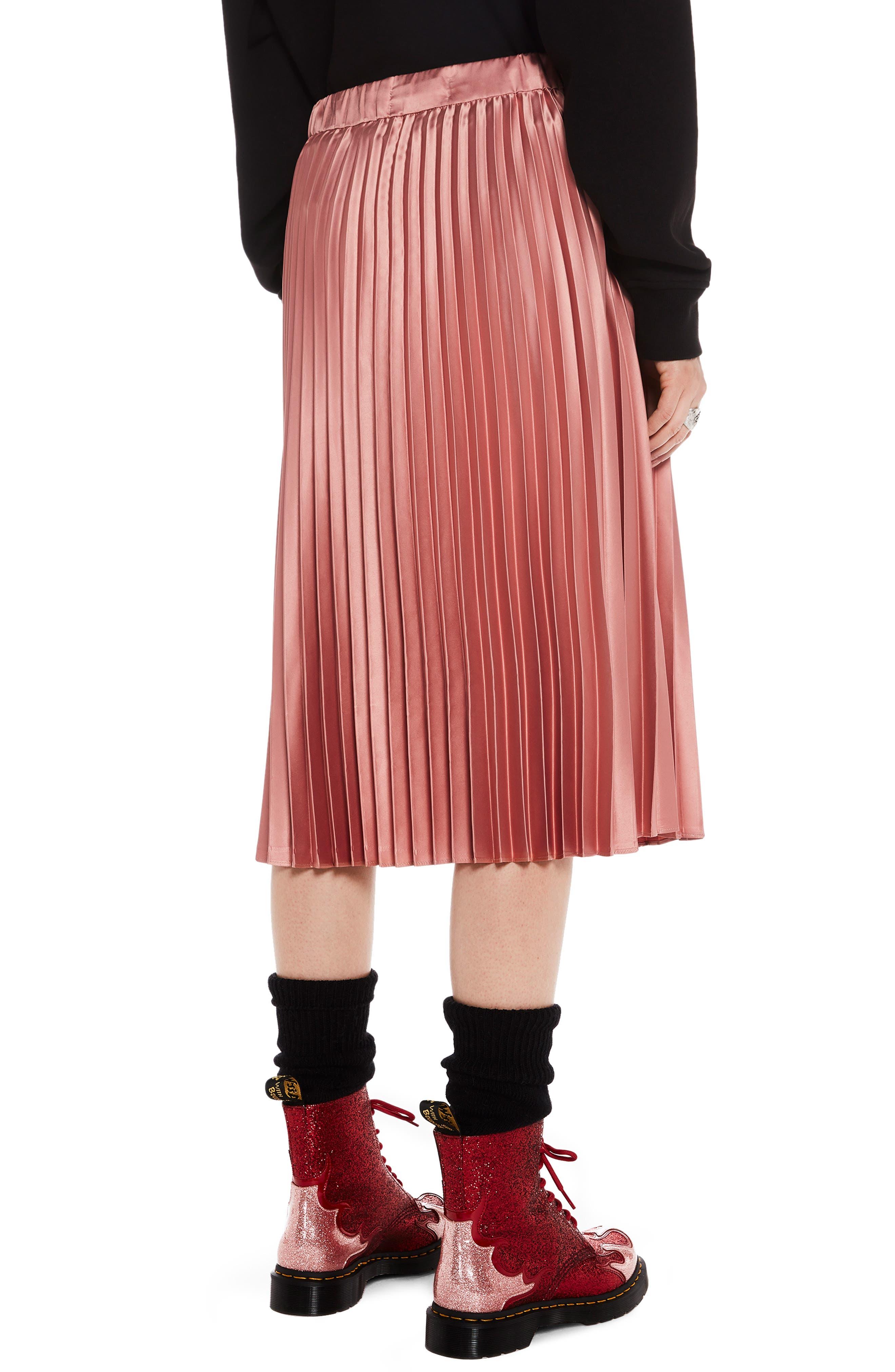 Shiny Pleated Midi Skirt,                             Alternate thumbnail 4, color,                             650