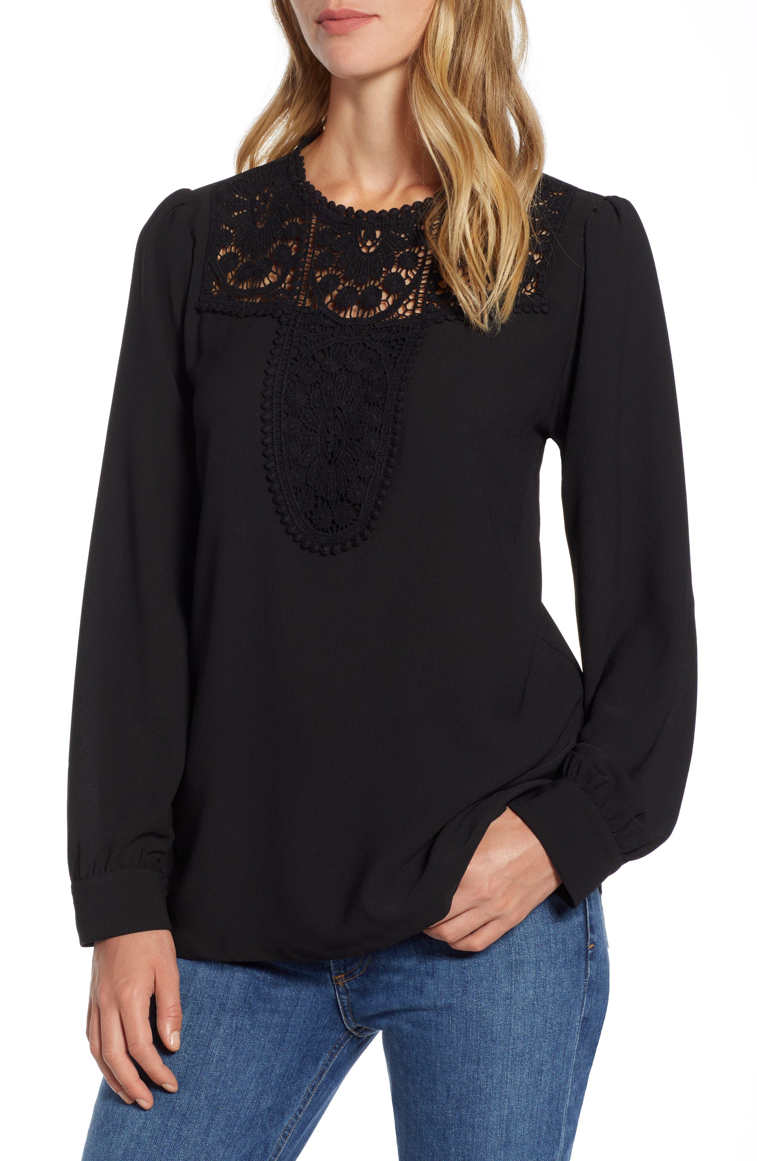 Lace & Crepe Blouse,                         Main,                         color, BLACK