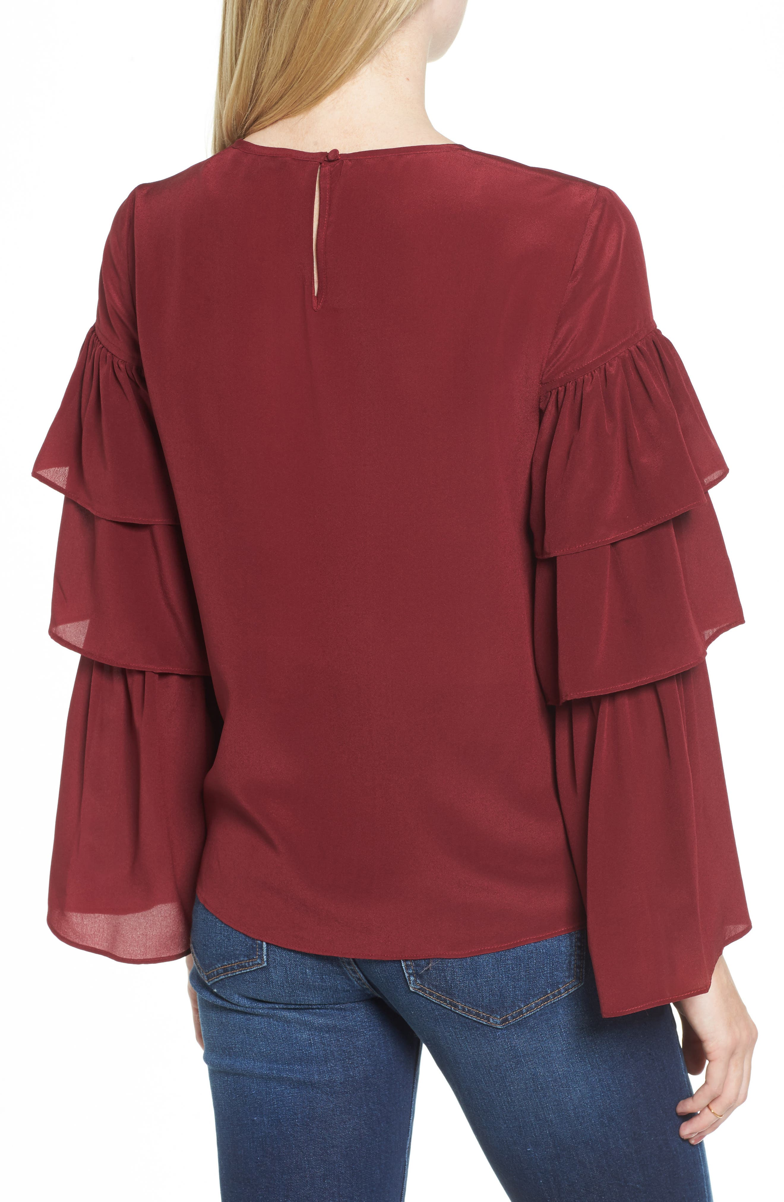 Ruffle Sleeve Silk Top,                             Alternate thumbnail 2, color,
