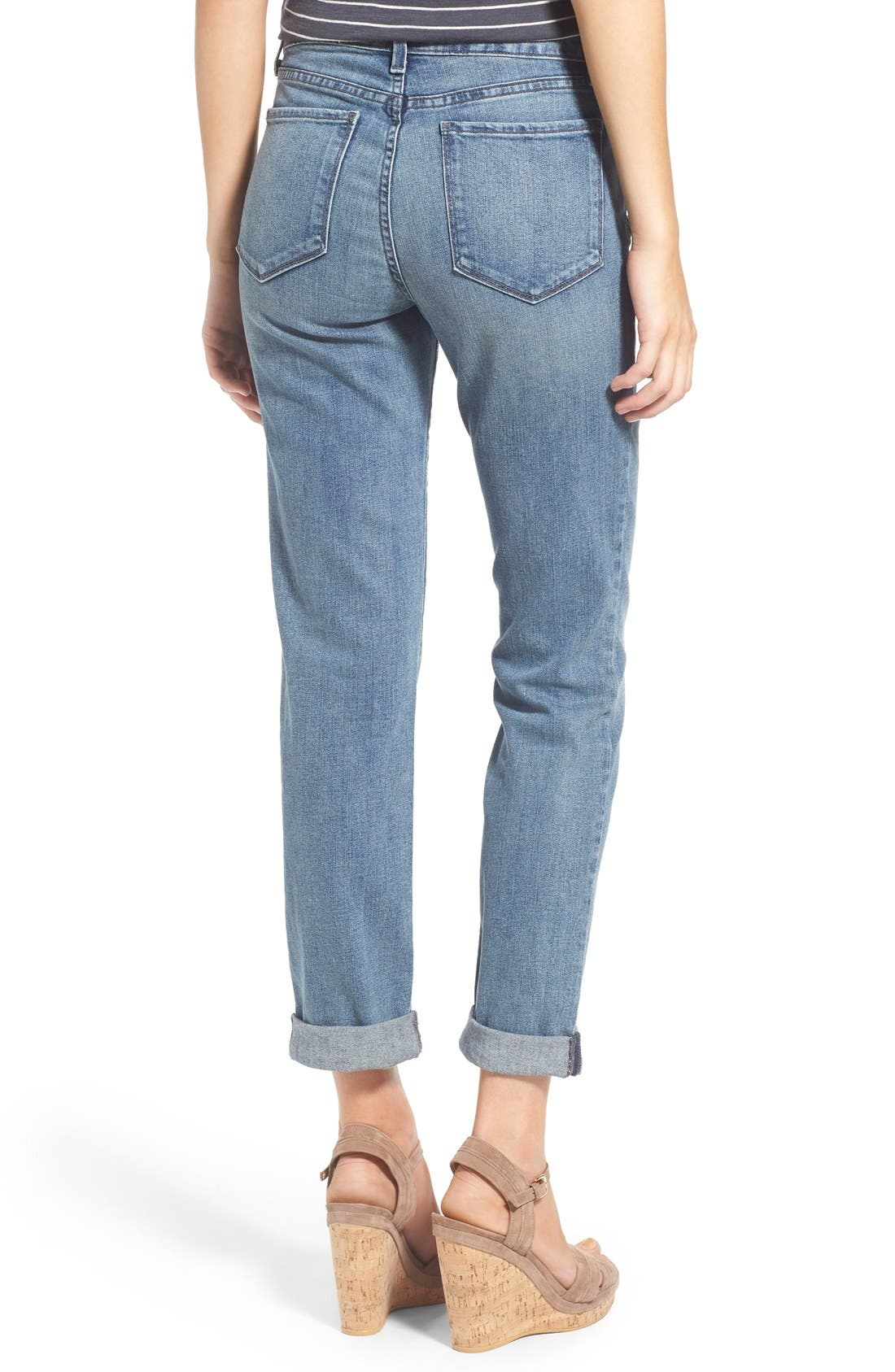 'Sylvia' Patch Detail Stretch Relaxed Boyfriend Jeans,                             Alternate thumbnail 3, color,                             423