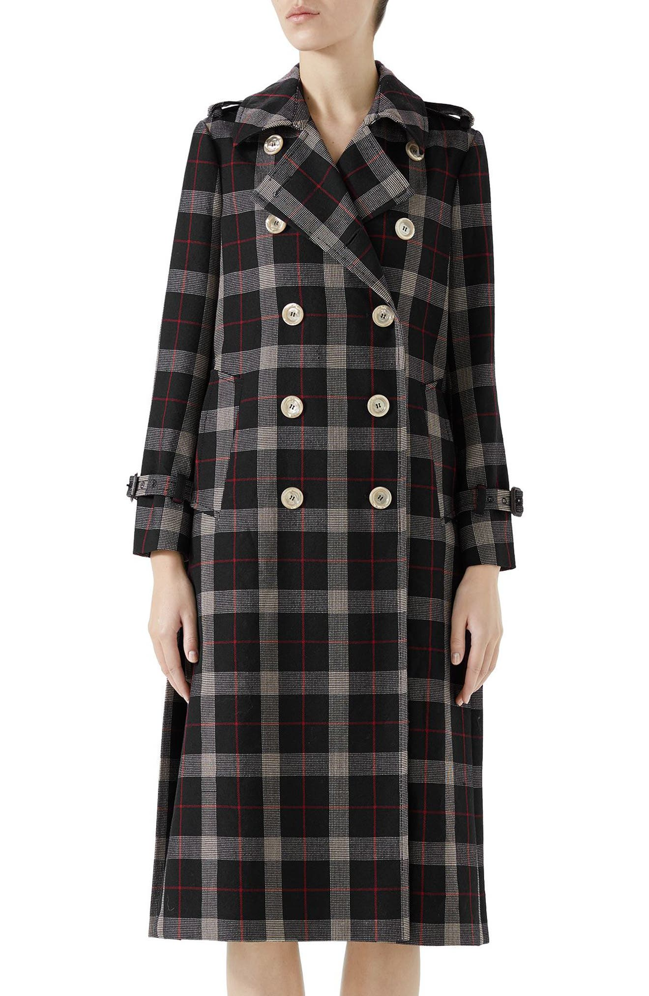 Oversize Check Pleated Back Coat,                         Main,                         color, INK/ RED/ ROSE BUD