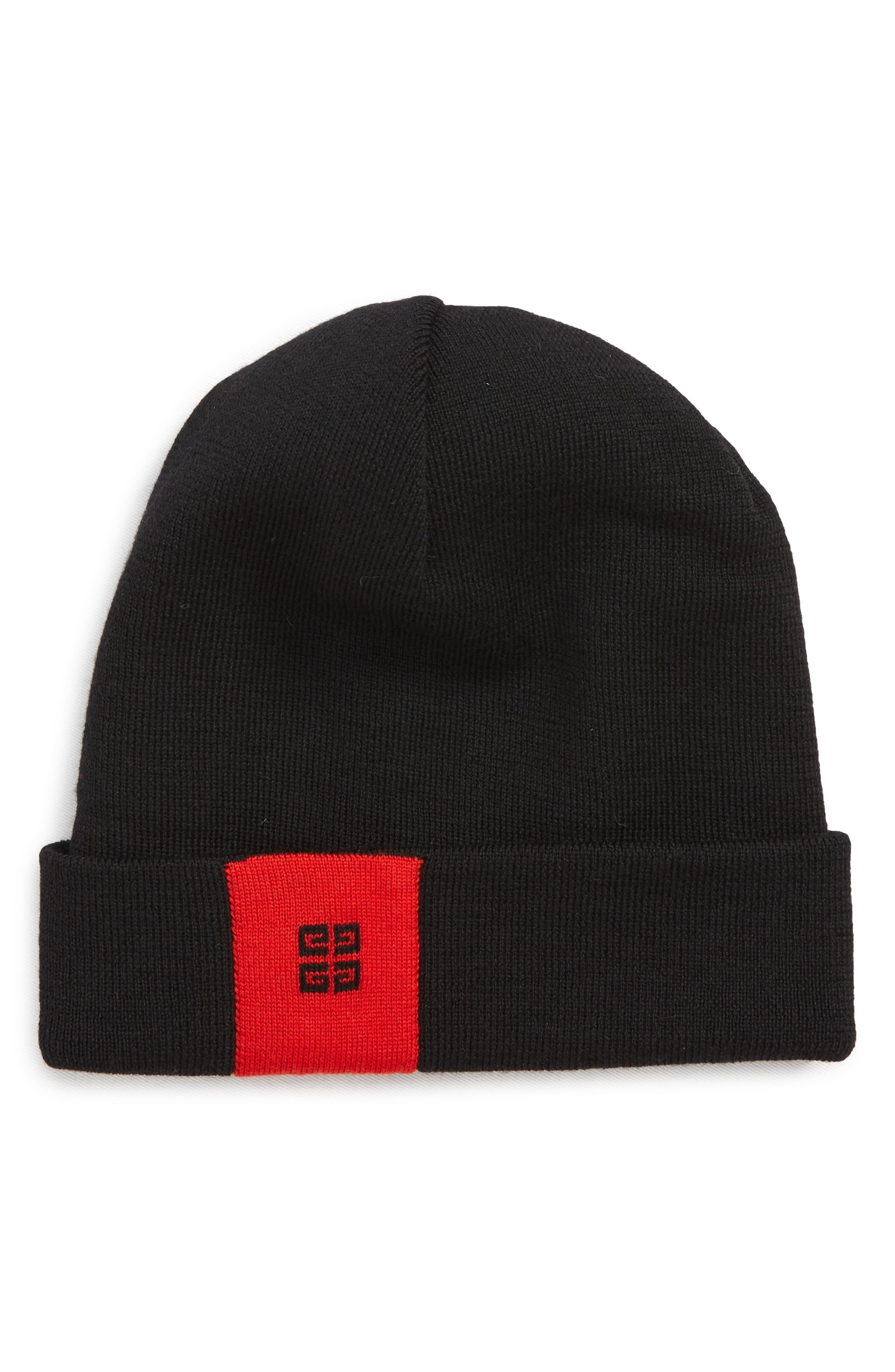 4G Wool Beanie,                             Main thumbnail 1, color,                             BLACK/ RED