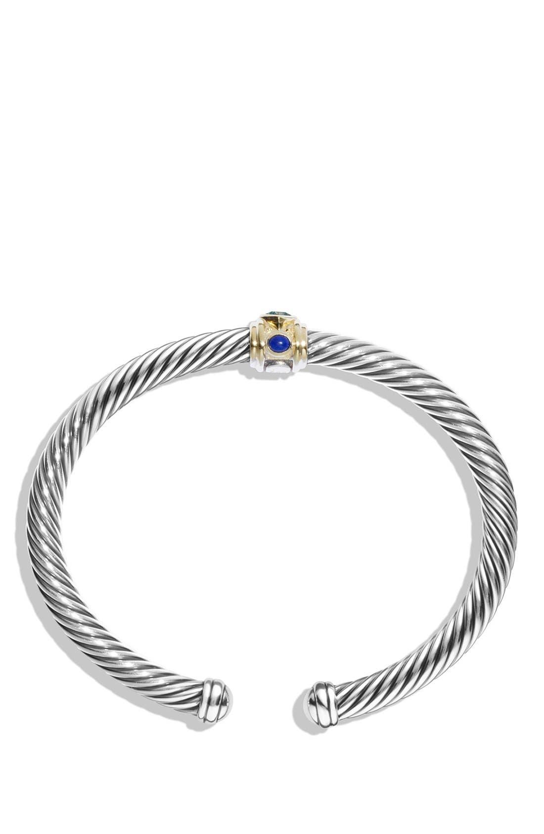 Renaissance Bracelet with Semiprecious Stones & 14K Gold, 5mm,                             Alternate thumbnail 2, color,                             BLUE TOPAZ