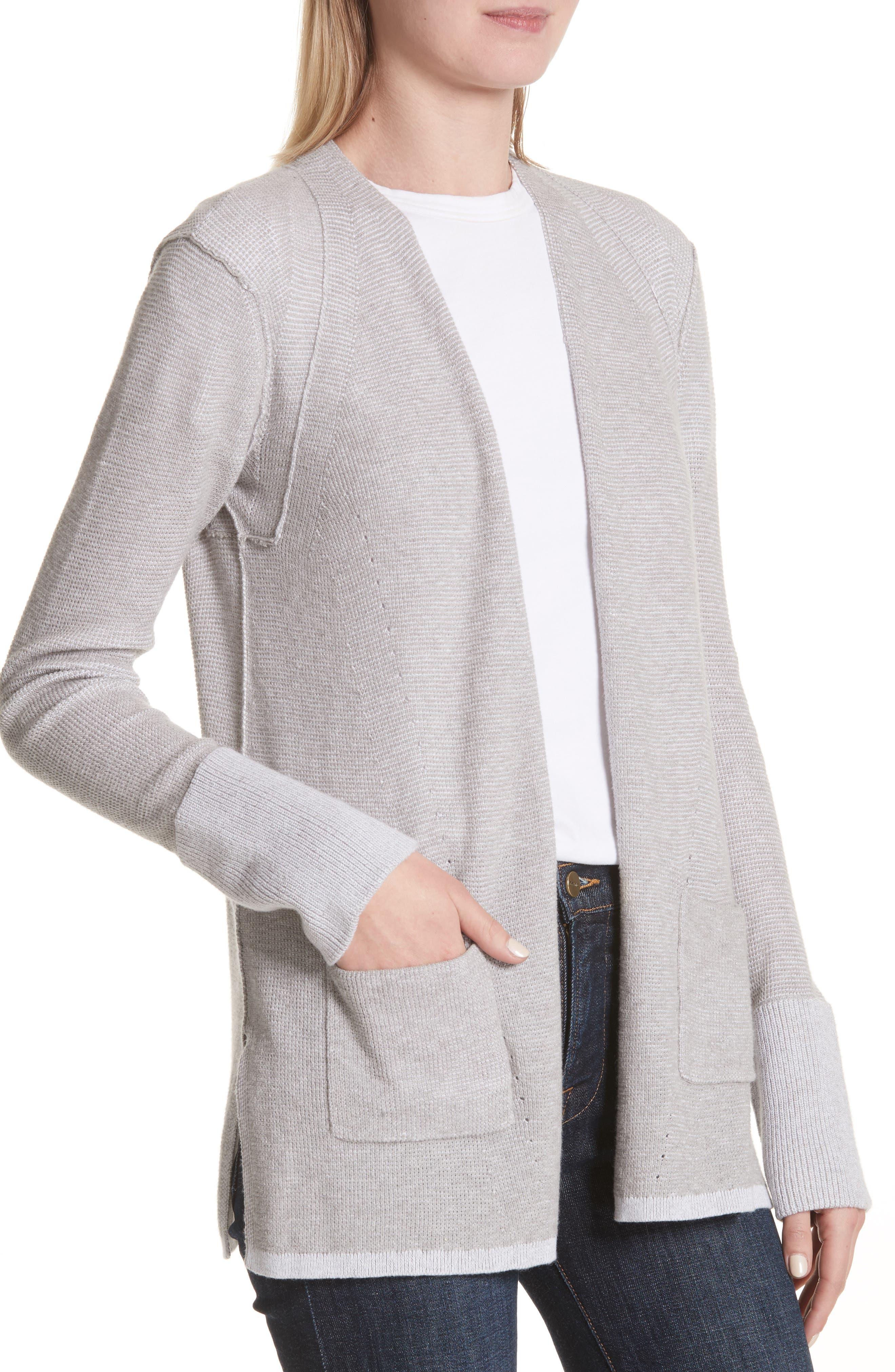Cotton & Cashmere Waffle Knit Cardigan,                             Alternate thumbnail 4, color,                             055