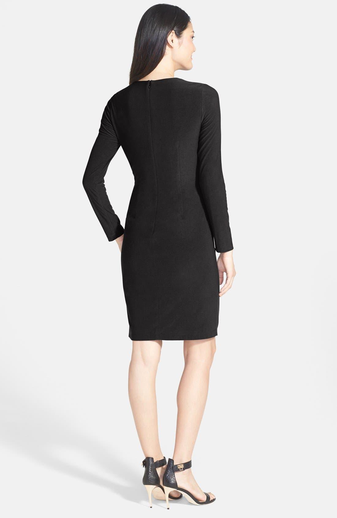 VINCE CAMUTO,                             Faux Leather Panel Ponte Sheath Dress,                             Alternate thumbnail 2, color,                             001