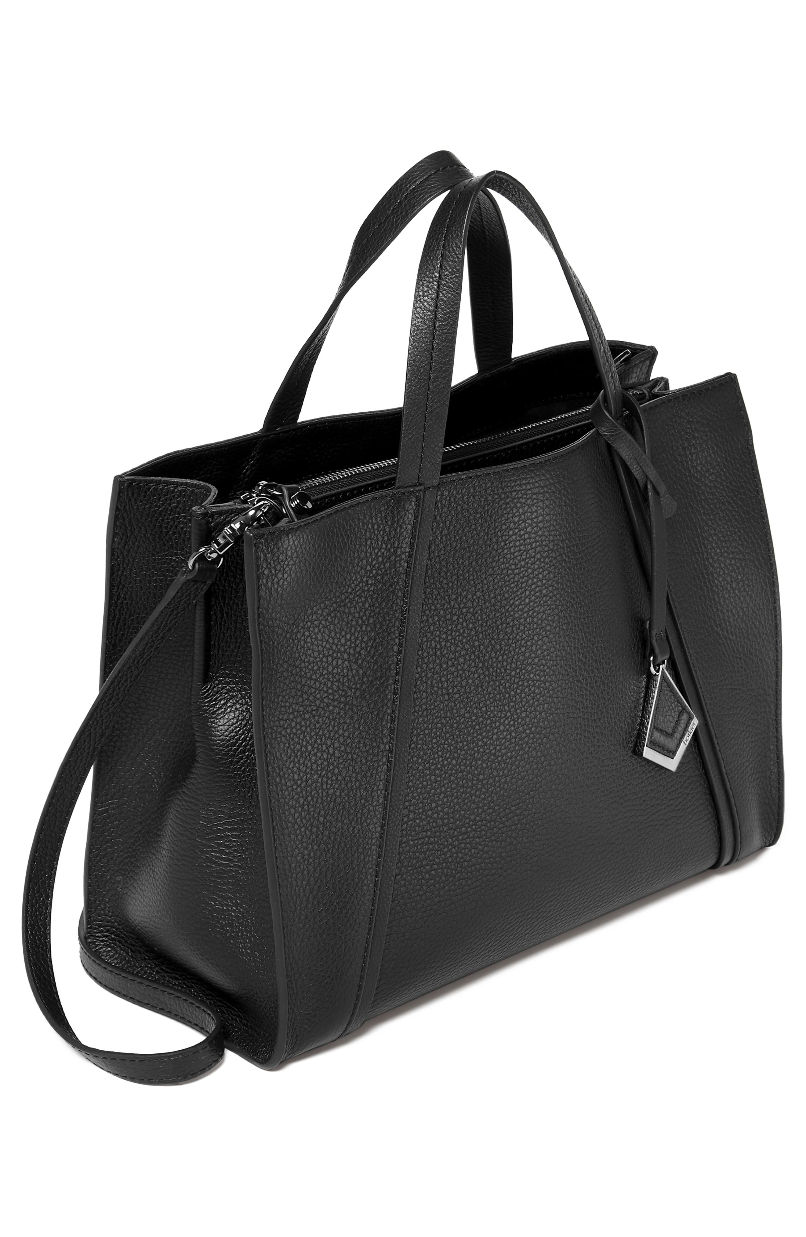 Trinity Leather Satchel,                             Alternate thumbnail 4, color,                             BLACK