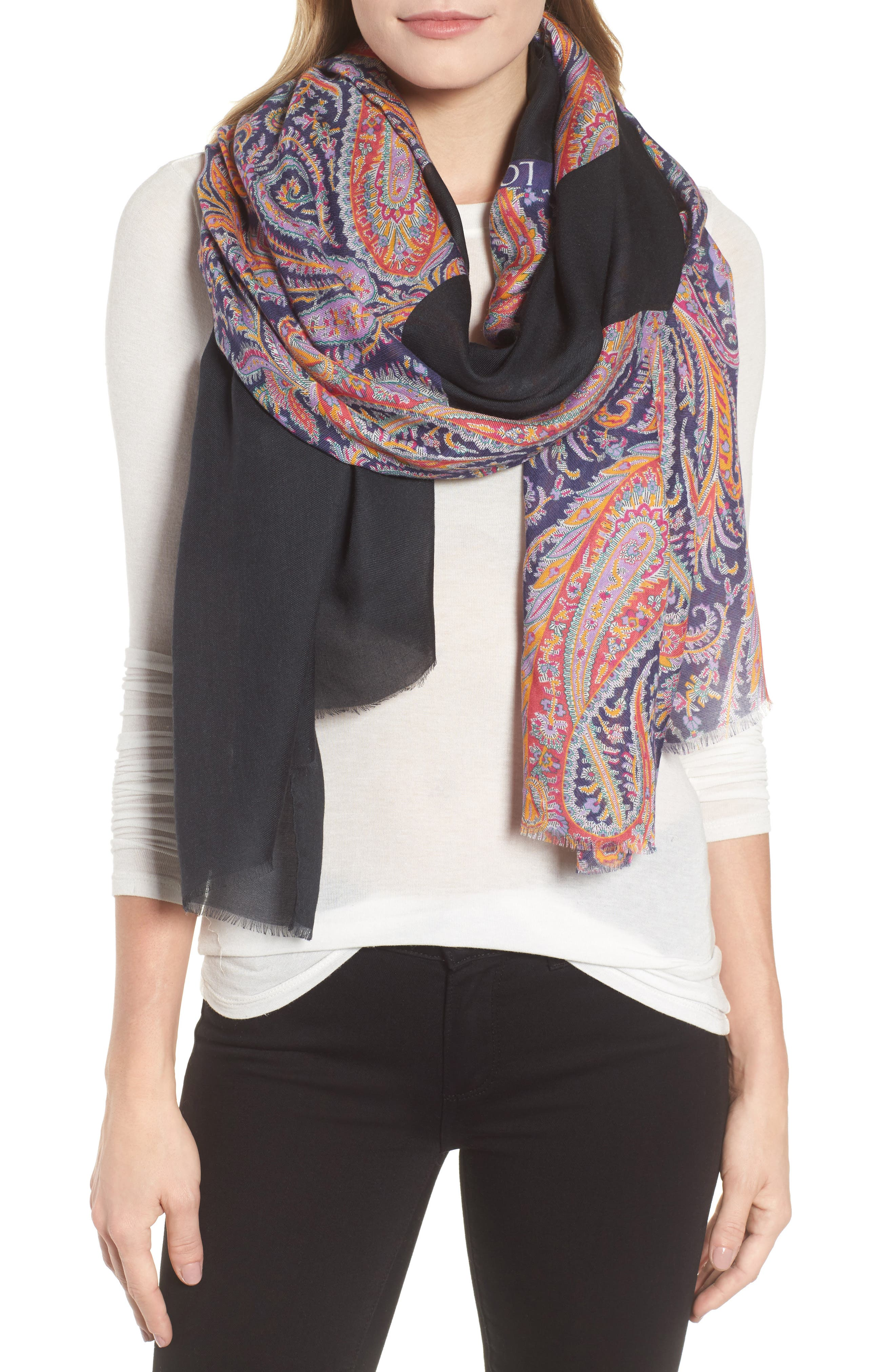 LOEWE,                             Liberty Stripe Paisley Scarf,                             Main thumbnail 1, color,                             MULTICOLOR