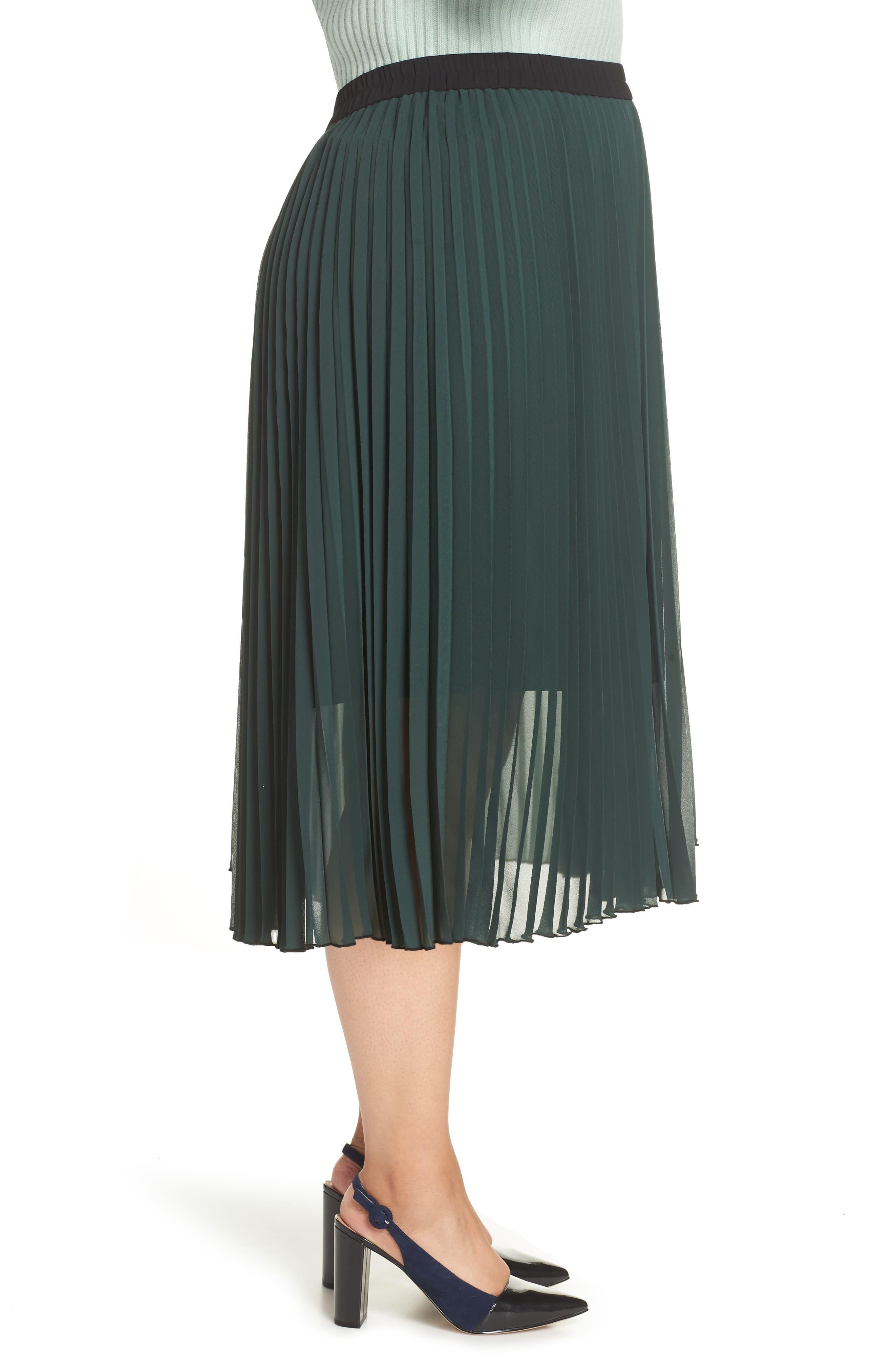 x Atlantic-Pacific Colorblock Pleated Midi Skirt,                             Alternate thumbnail 3, color,                             GREEN- BLACK COLORBLOCK
