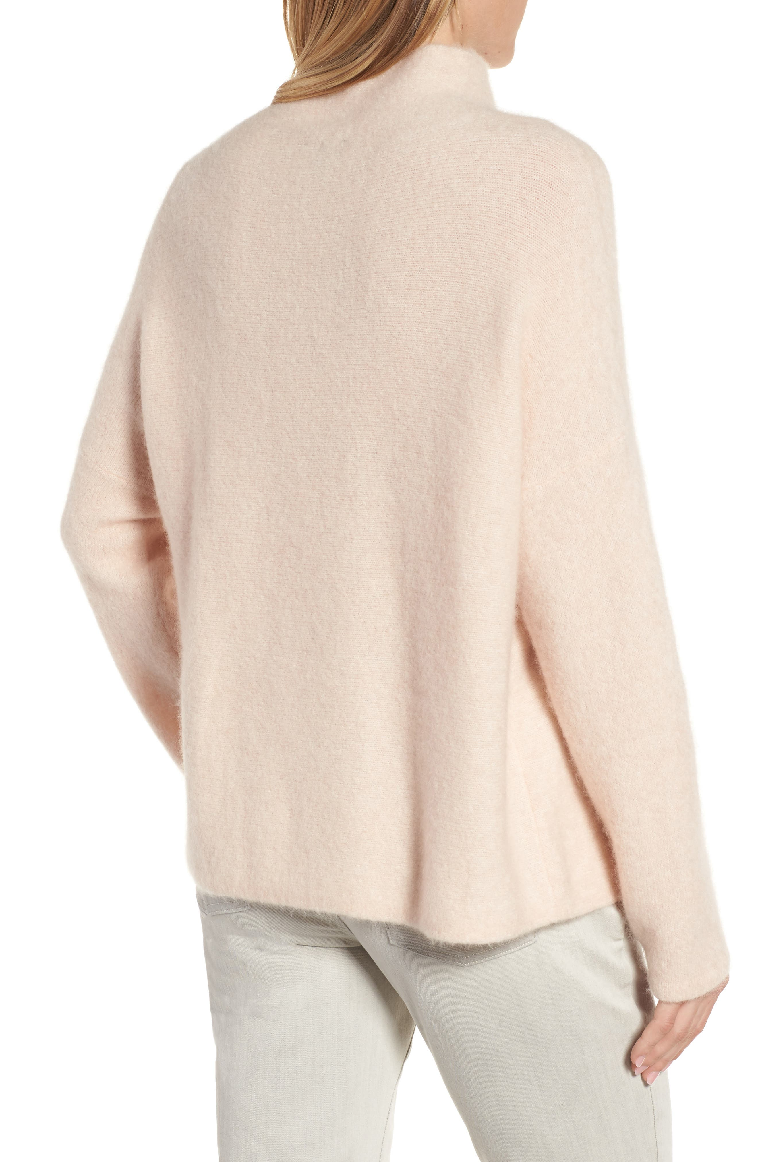 'Bouclé Bliss' Cashmere & Silk Blend Funnel Neck Sweater,                             Alternate thumbnail 5, color,