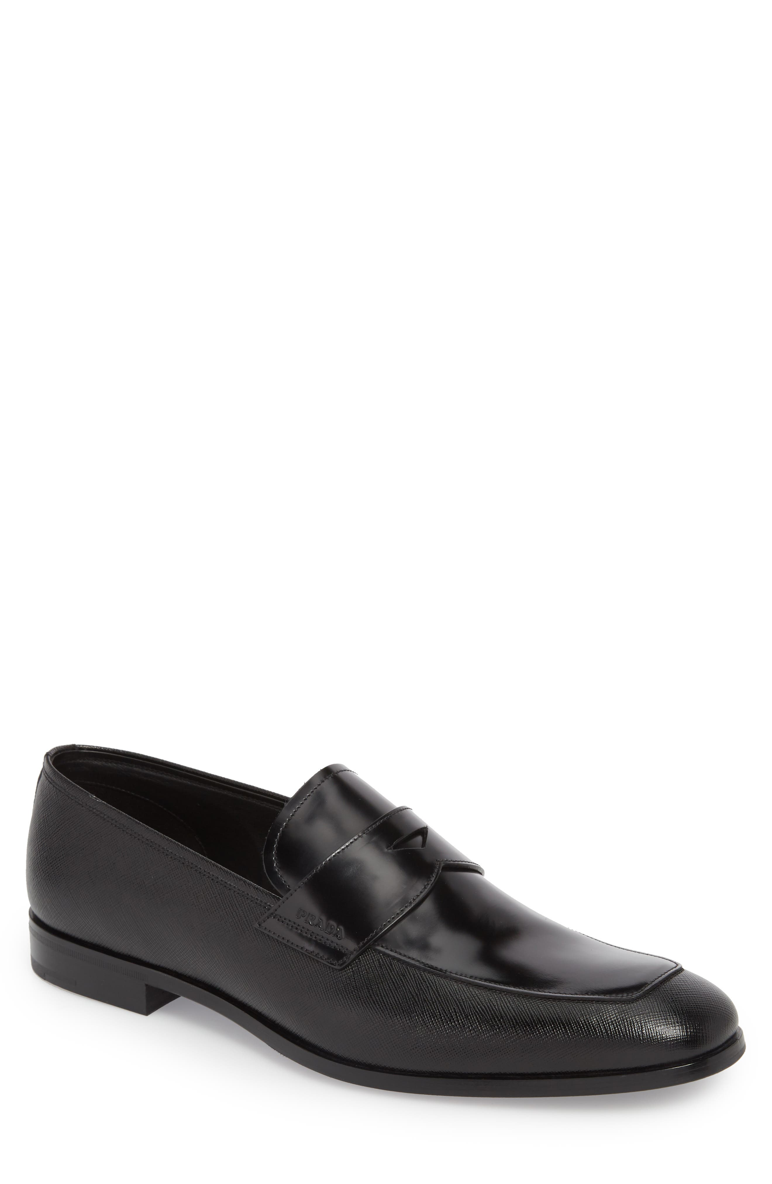 Saffiano Leather Penny Loafer,                             Main thumbnail 1, color,                             NERO