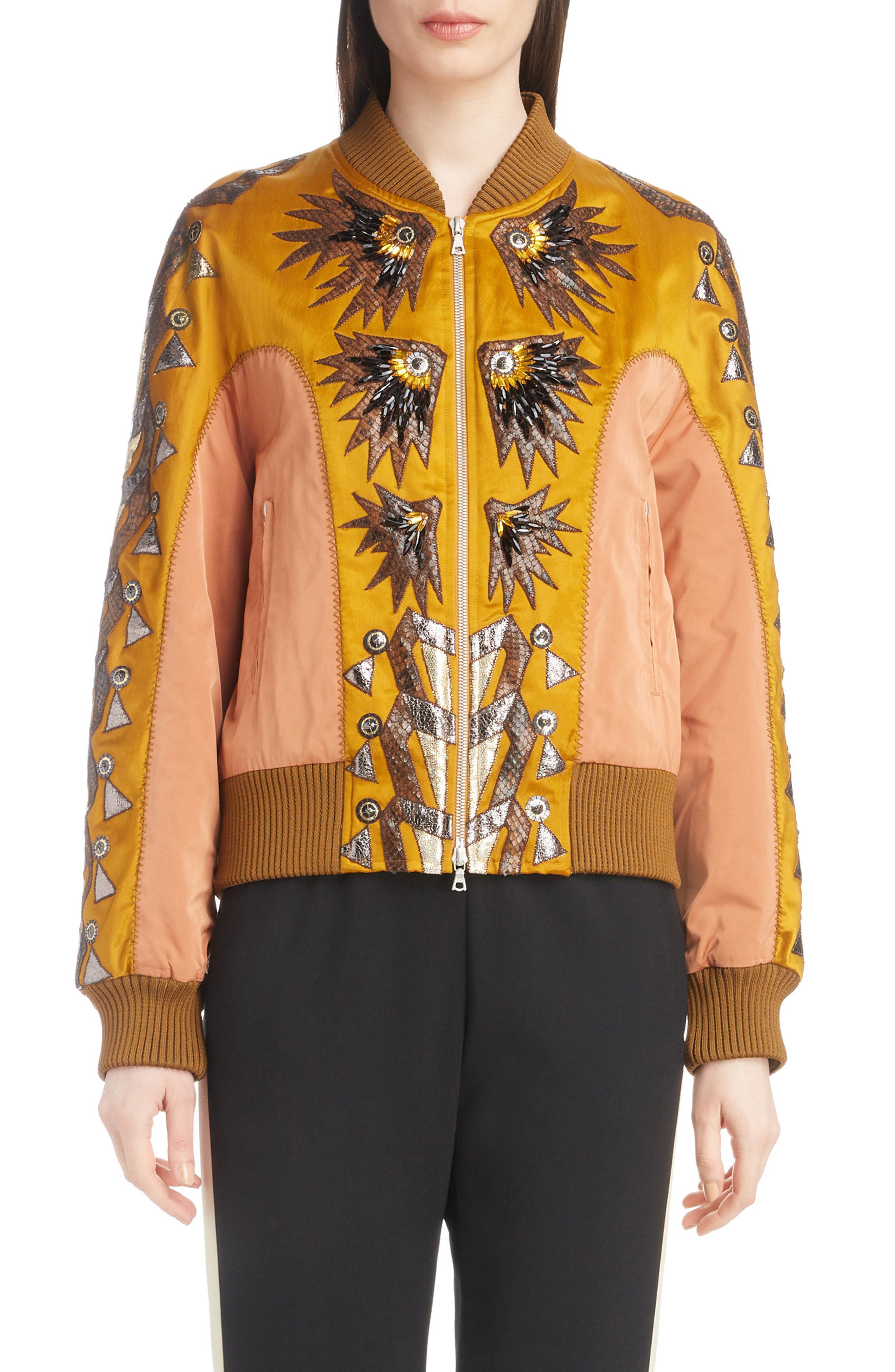 DRIES VAN NOTEN Fil-Coupe Embroidered Fitted Bomber Jacket in Gold