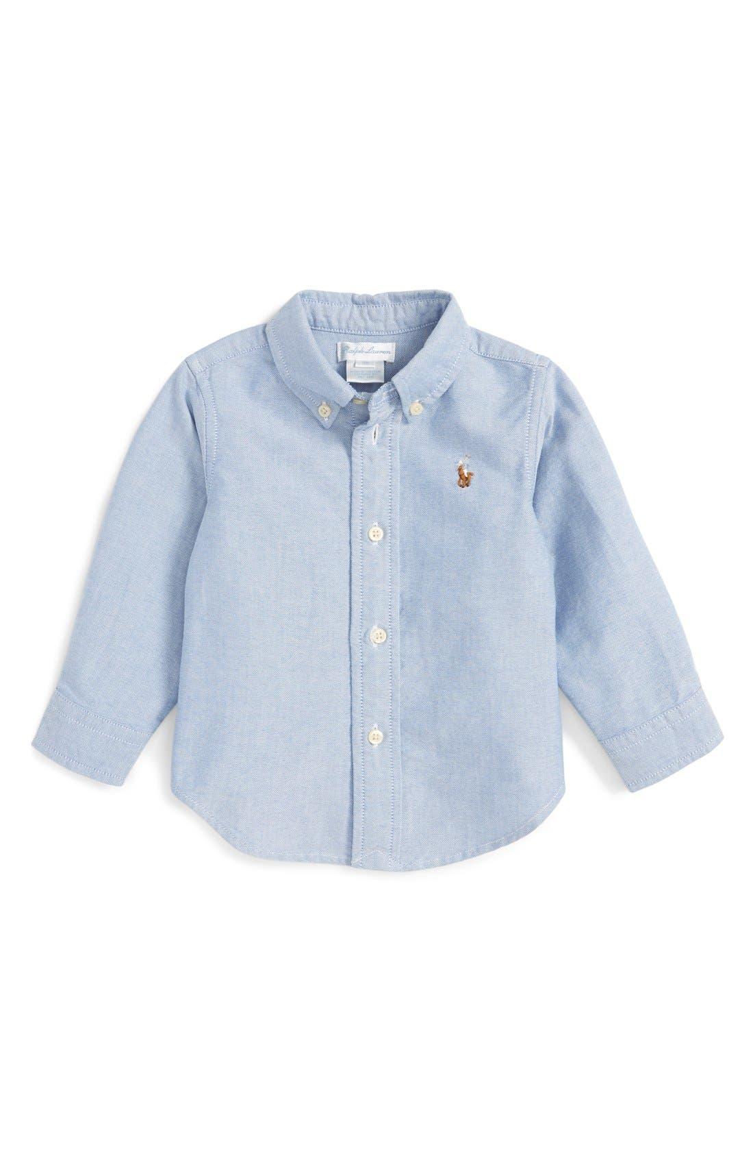 Infant Boys Ralph Lauren Oxford Shirt Size 9M  Blue