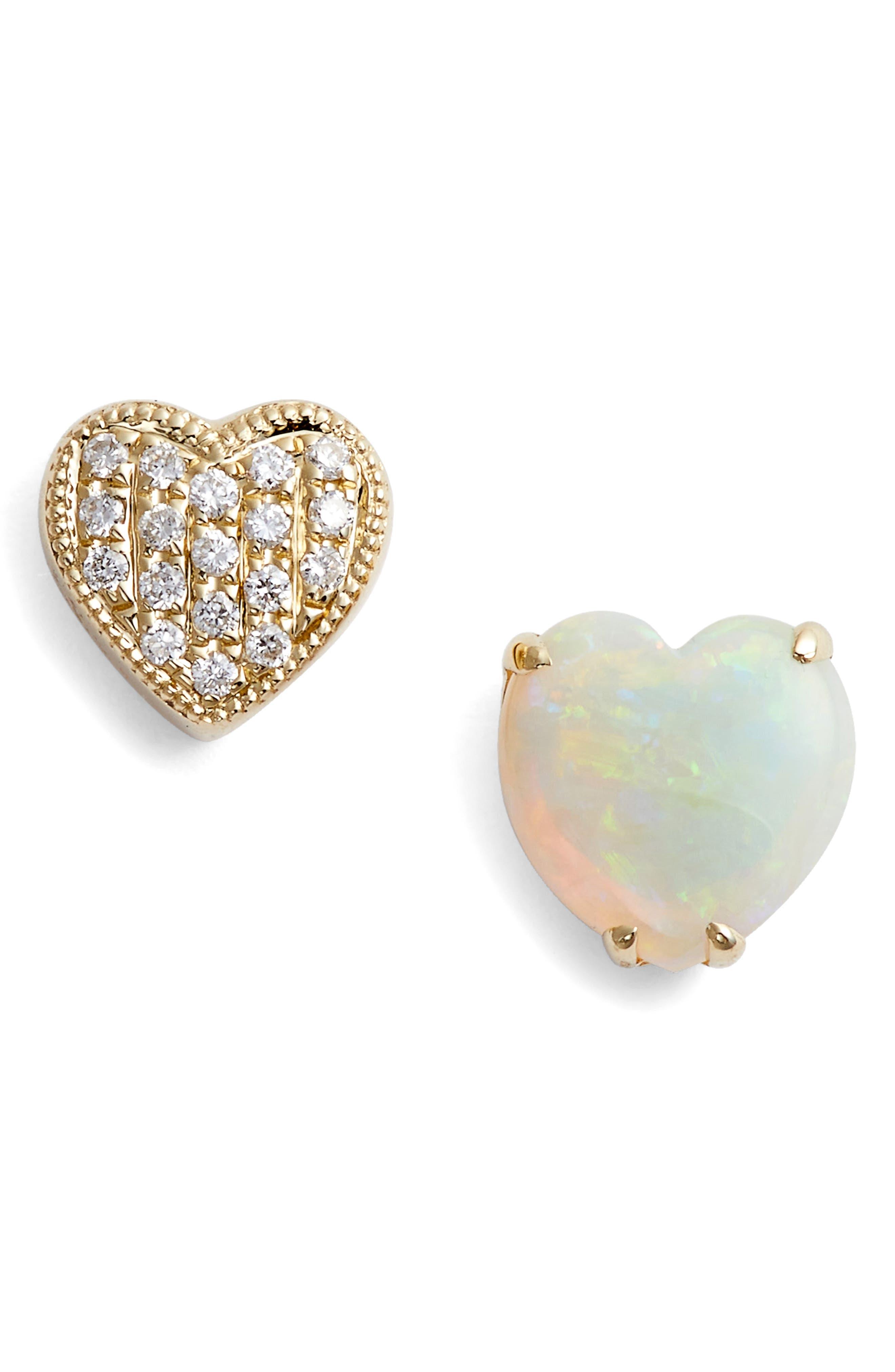 Diamond & Semiprecious Stone Stud Earrings,                             Main thumbnail 1, color,                             YELLOW GOLD