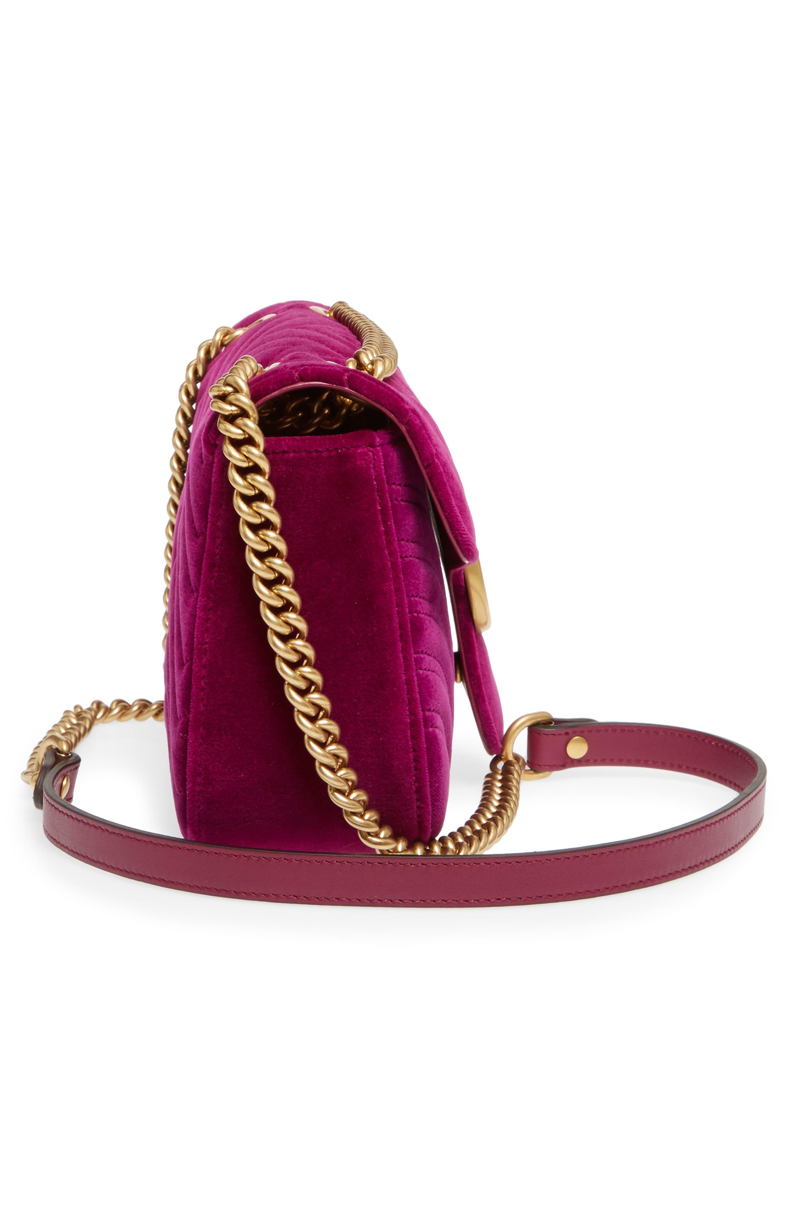 GUCCI,                             Medium GG Marmont 2.0 Matelassé Velvet Shoulder Bag,                             Alternate thumbnail 5, color,                             FUCSIA