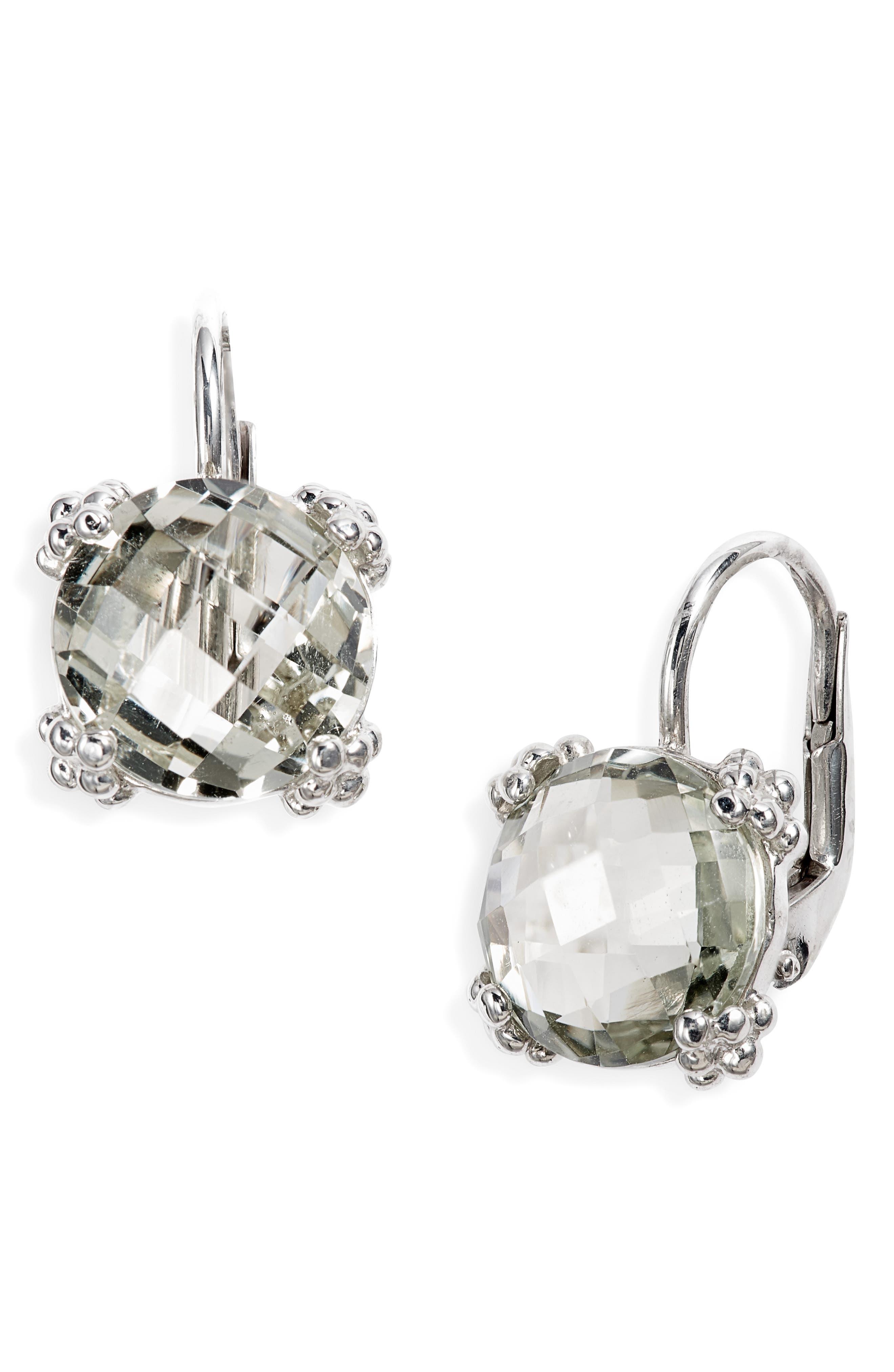Dewdrop Topaz Drop Earrings,                             Main thumbnail 1, color,                             GREEN AMETHYST