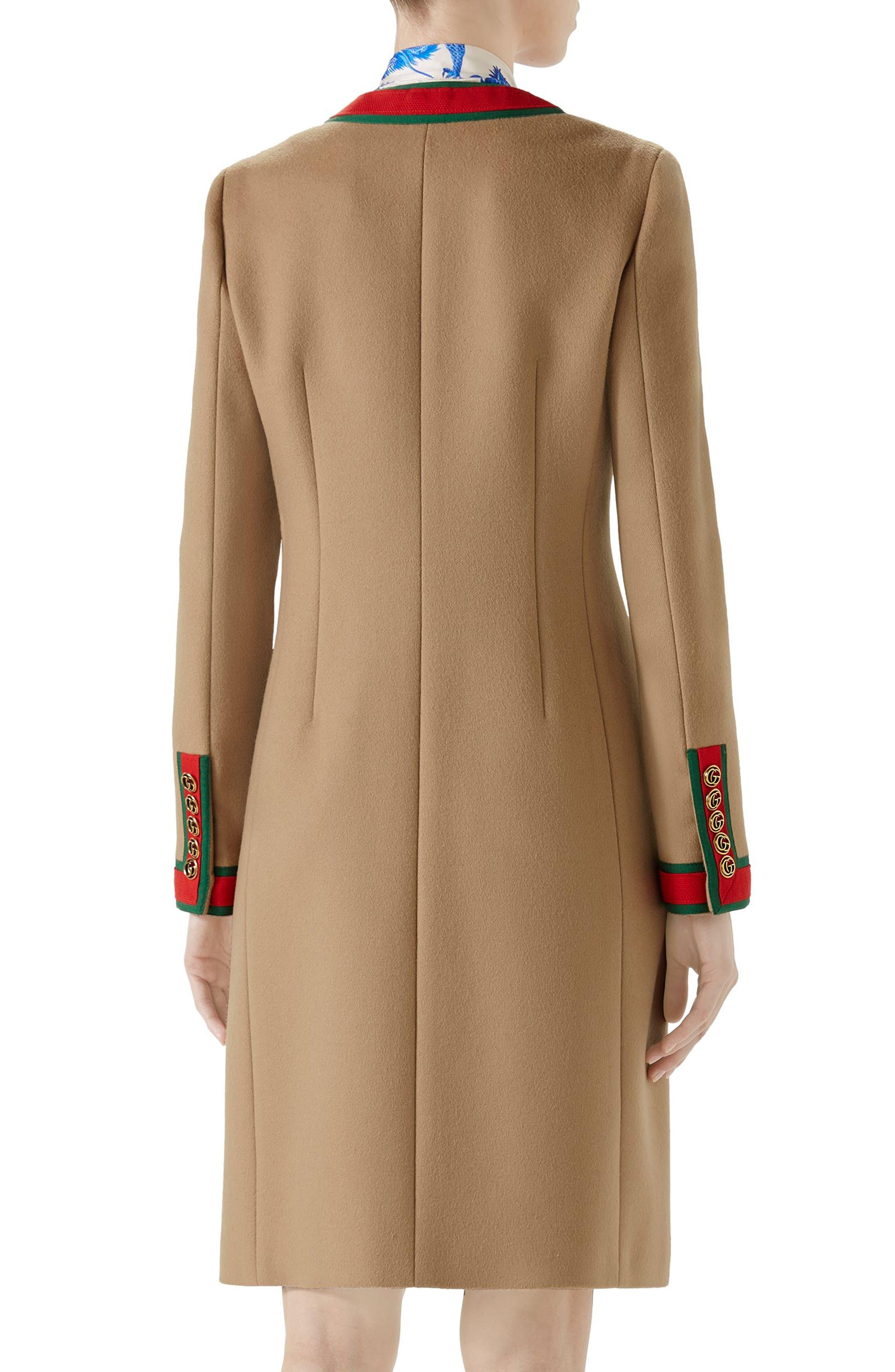 Wool Stripe Trim Coat,                             Alternate thumbnail 2, color,                             CAMEL