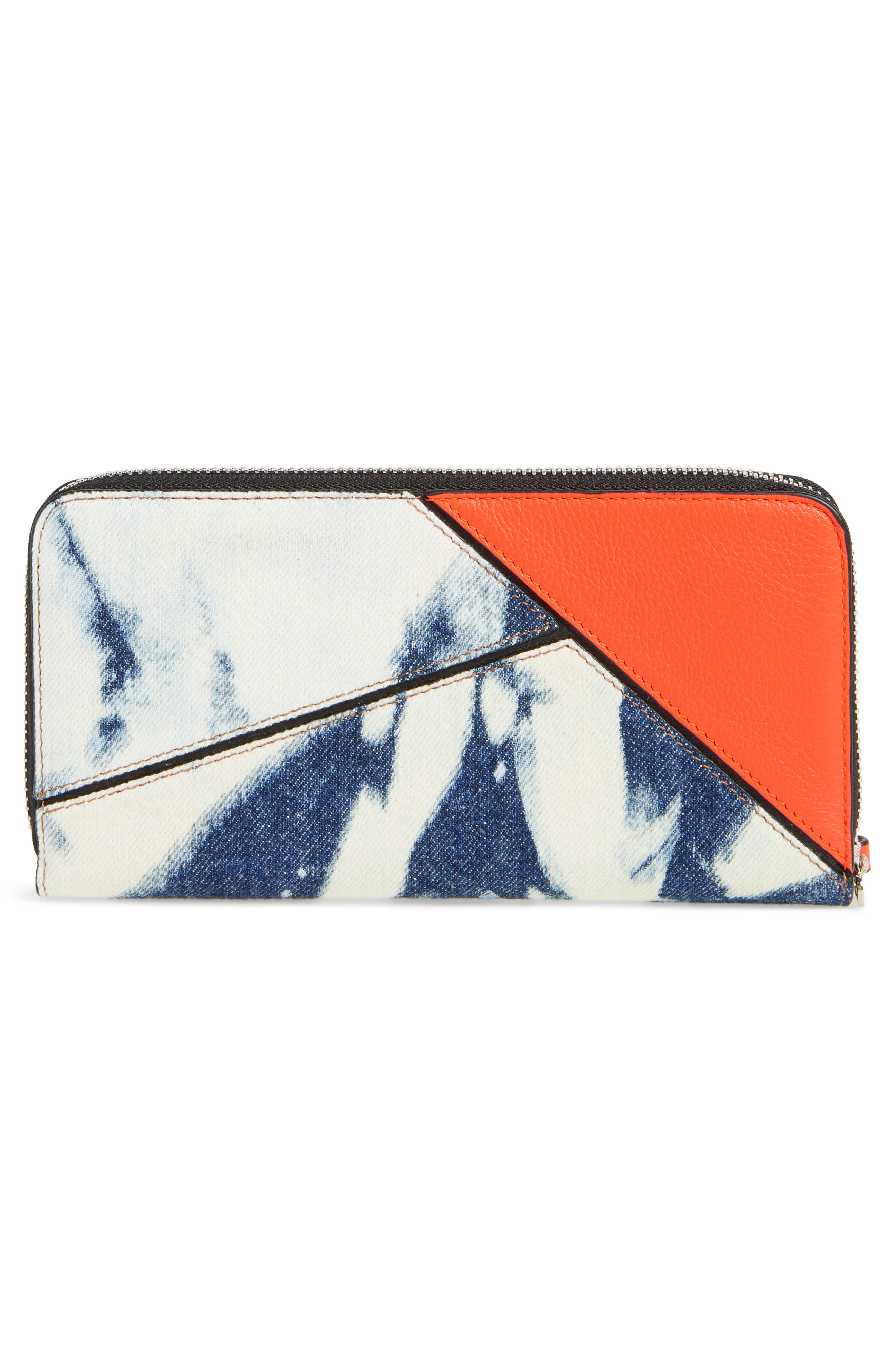 Denim Puzzle Zip Around Leather Wallet,                             Alternate thumbnail 3, color,                             492