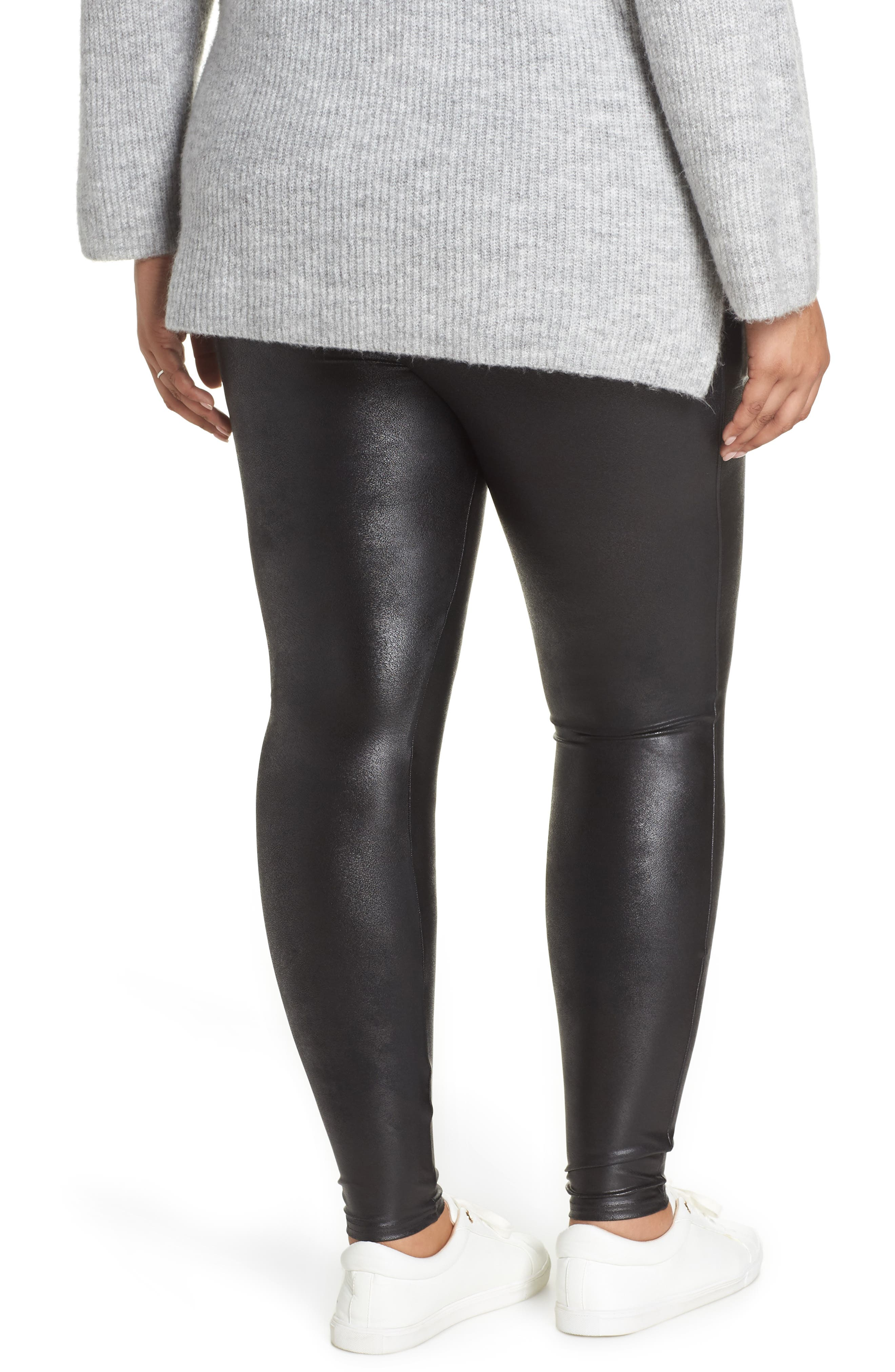 Mama High Rise Faux Leather Maternity Leggings,                             Alternate thumbnail 2, color,                             VERY BLACK