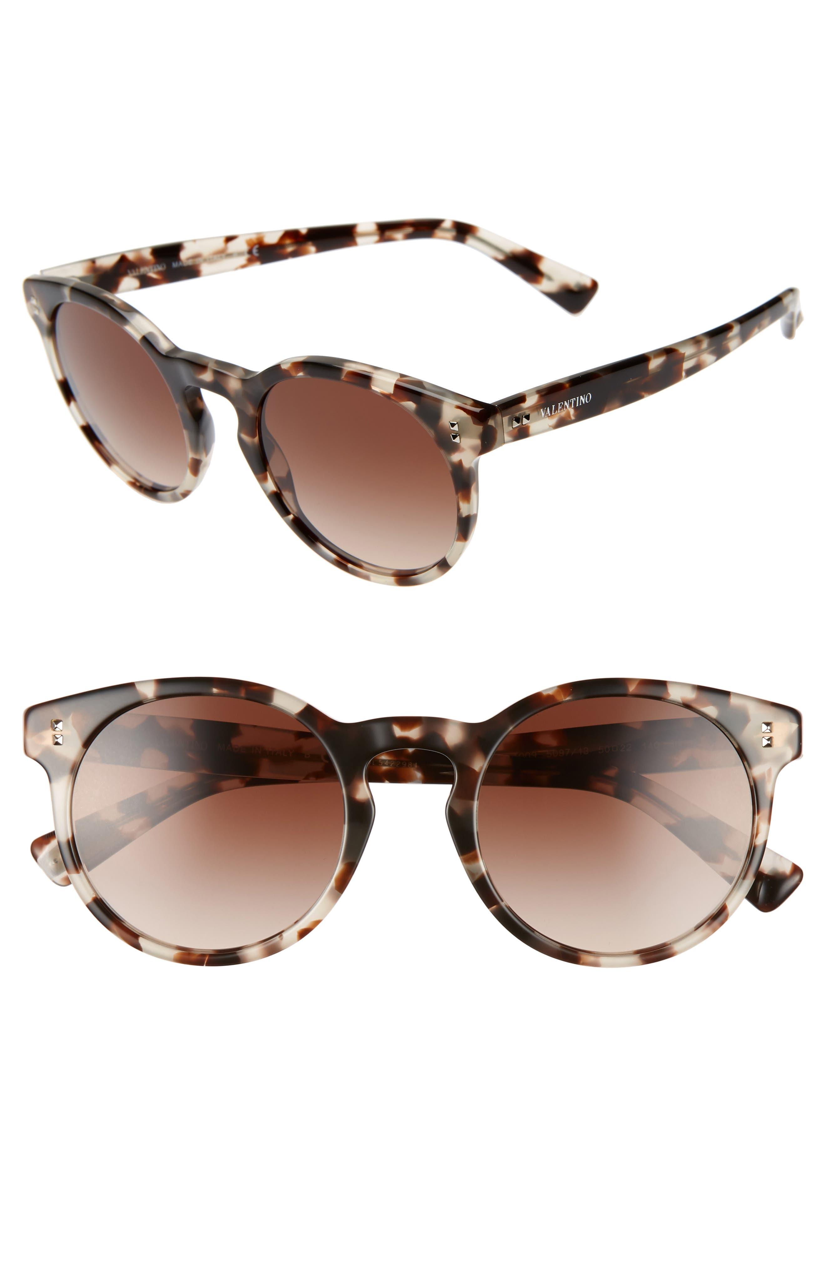 50mm Retro Sunglasses, Main, color, BEIGE TORTOISE/ BROWN GRADIENT
