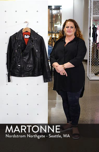 Classic Fit Leather Biker Jacket, sales video thumbnail