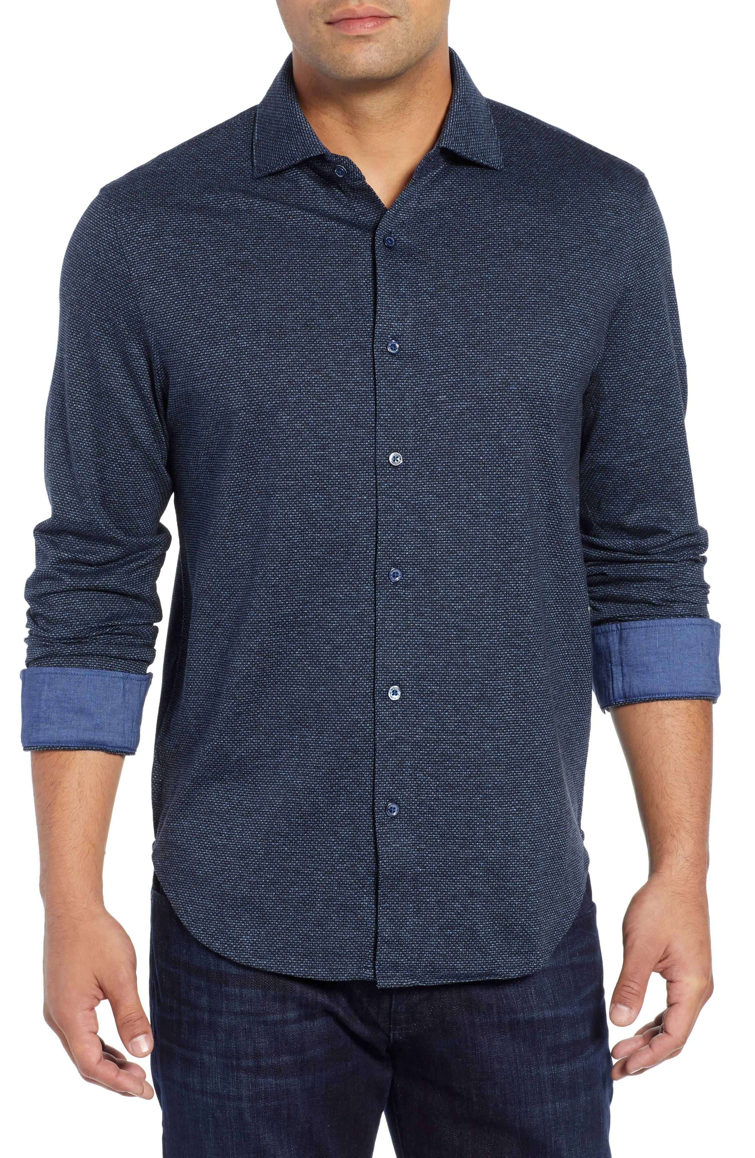 Shaped Fit Knit Sport Shirt,                             Main thumbnail 1, color,                             CHARCOAL