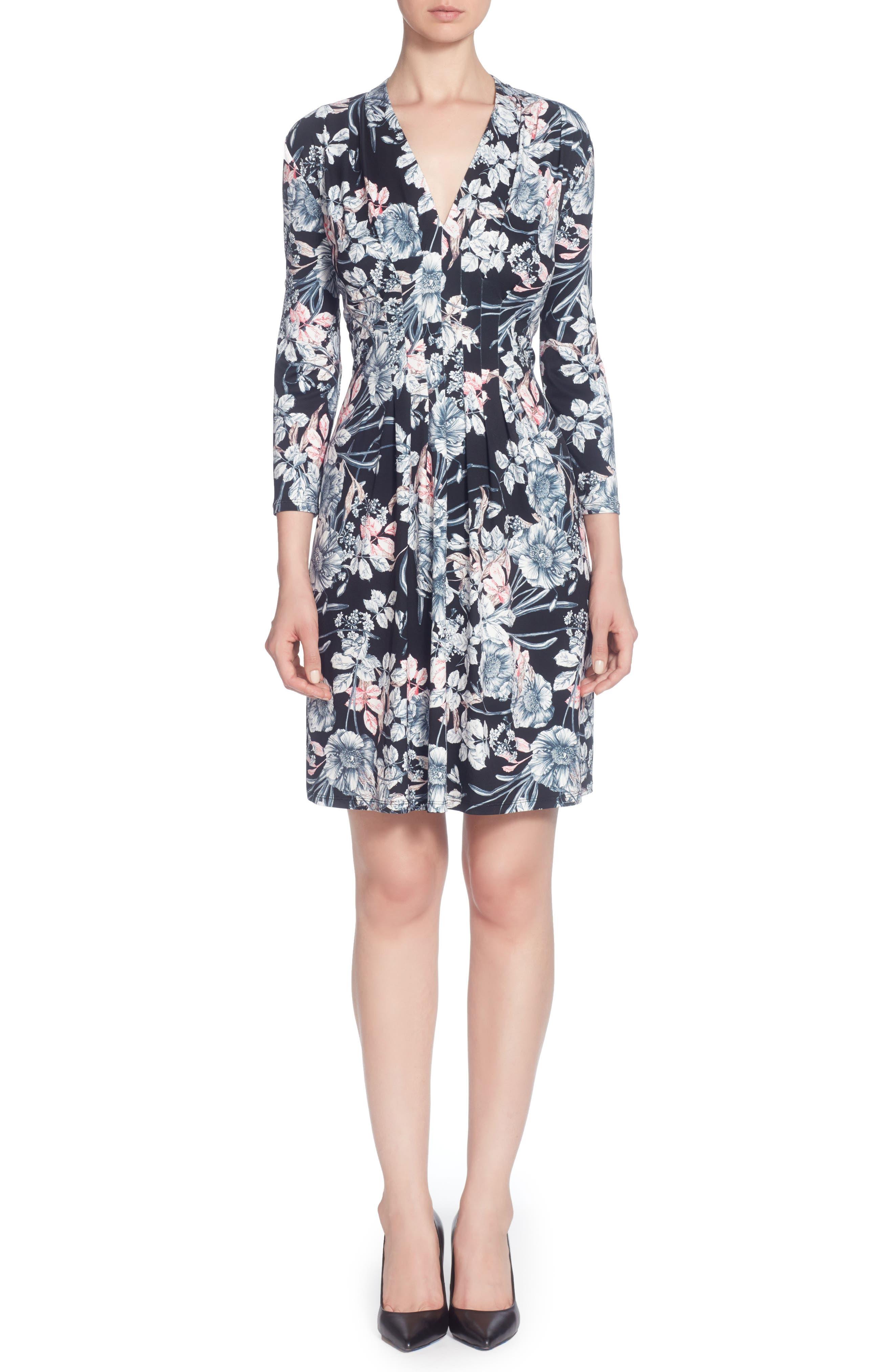Tinka Print Jersey V-Neck Fit & Flare Dress,                             Main thumbnail 1, color,                             001