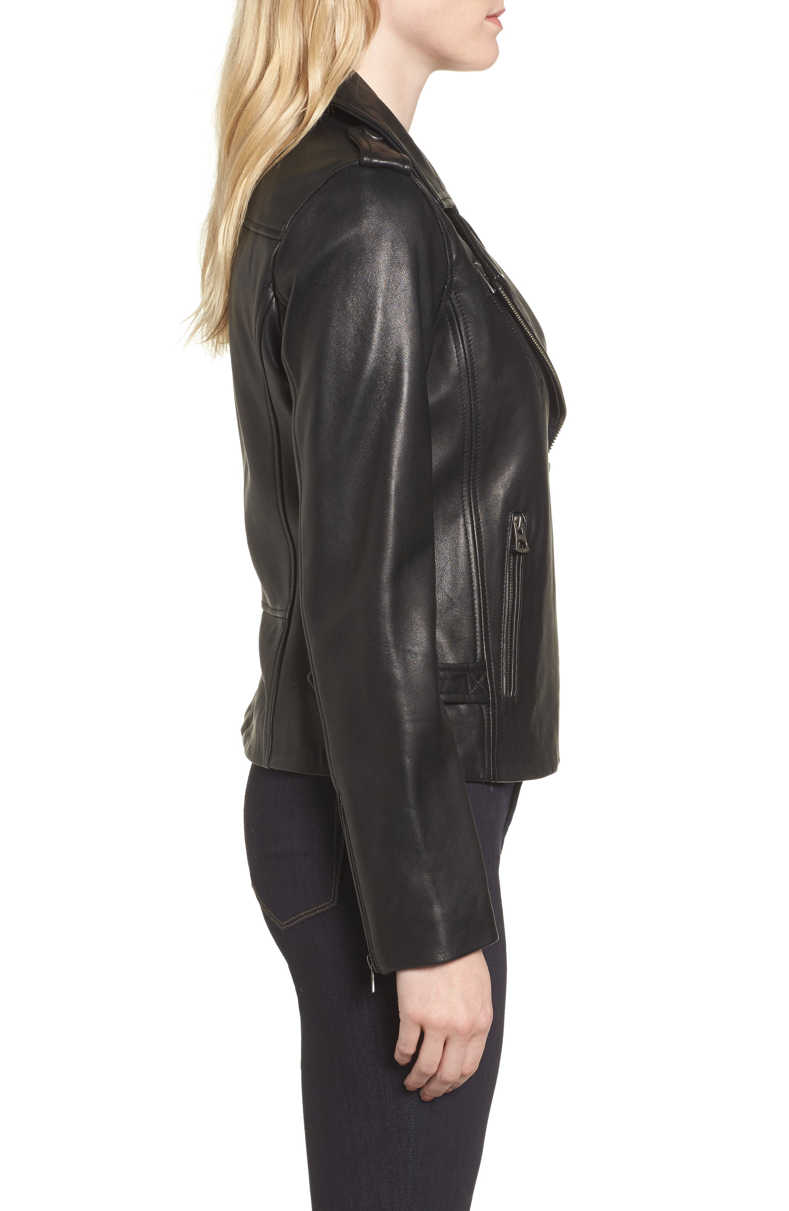 Leather Jacket,                             Alternate thumbnail 3, color,