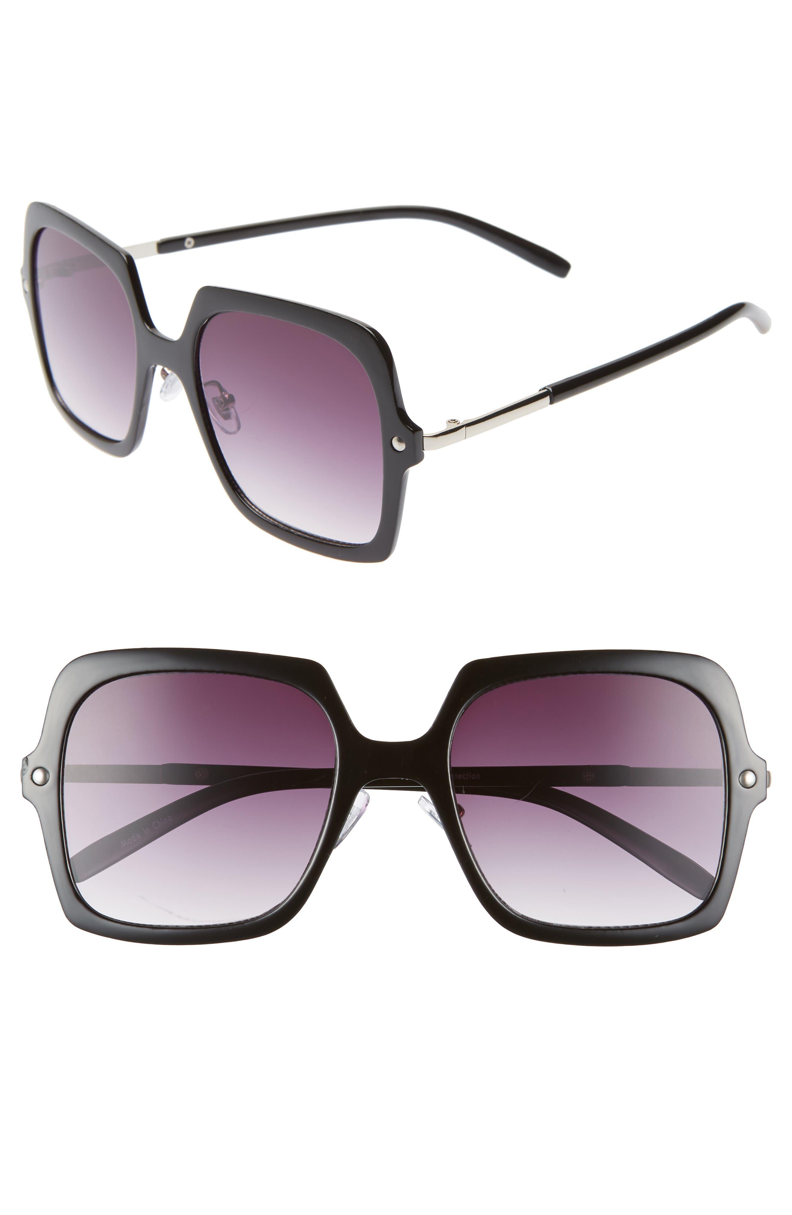 BP.,                             Translucent Square Sunglasses,                             Main thumbnail 1, color,                             001
